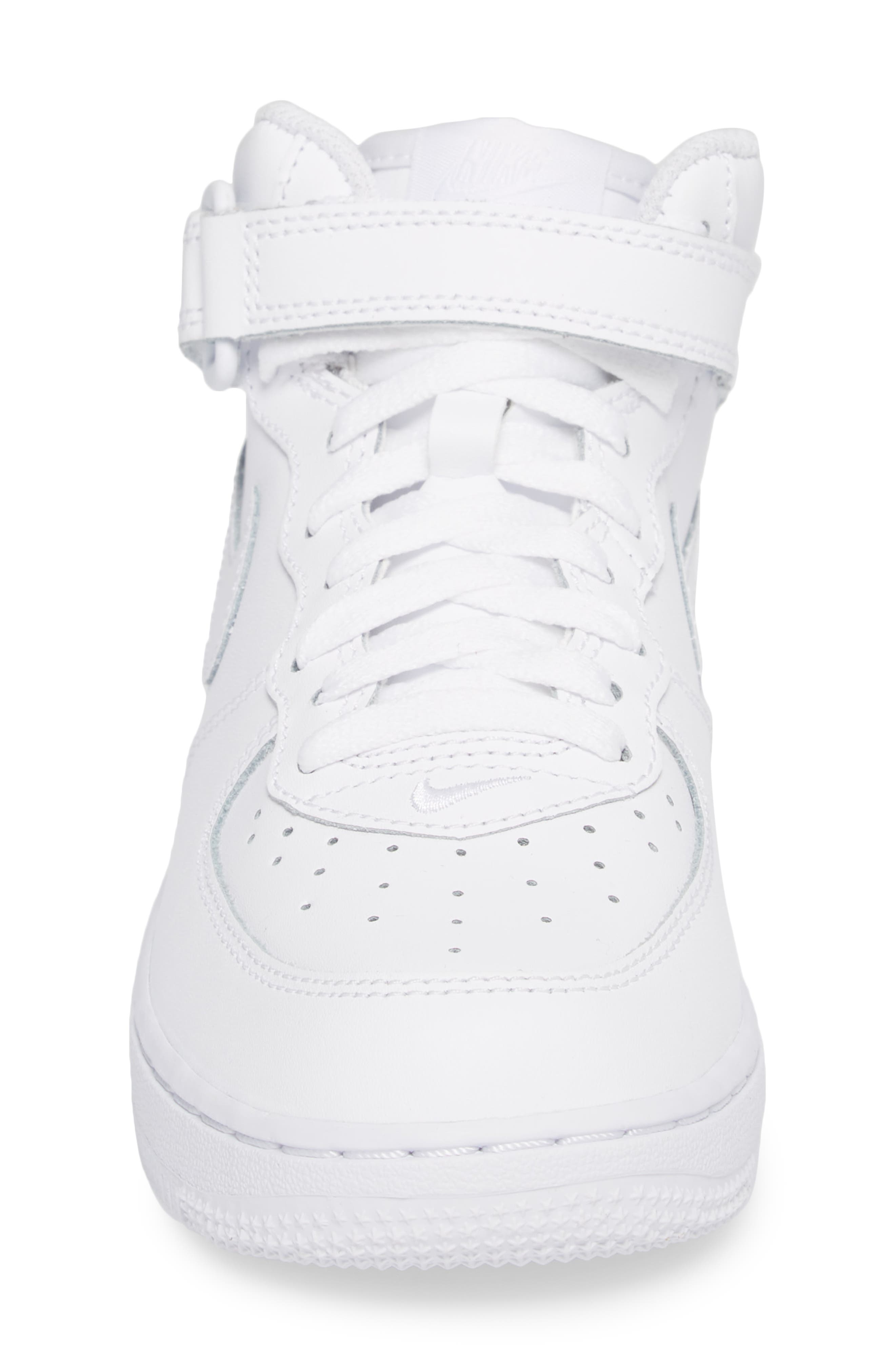NIKE,                             Air Force 1 Mid Sneaker,                             Alternate thumbnail 4, color,                             WHITE/ WHITE