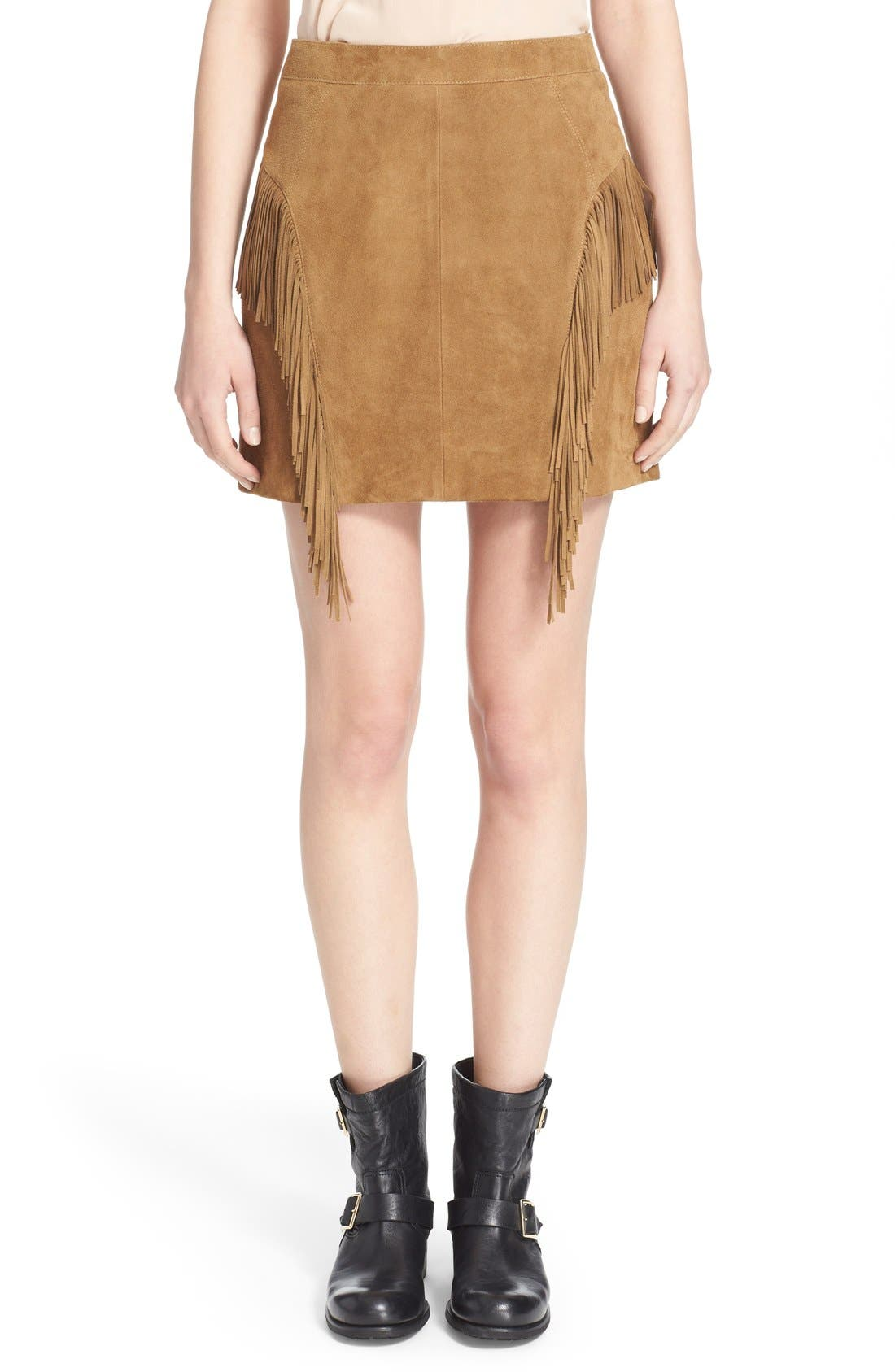 Suede Fringe Mini Skirt,                             Main thumbnail 1, color,                             244