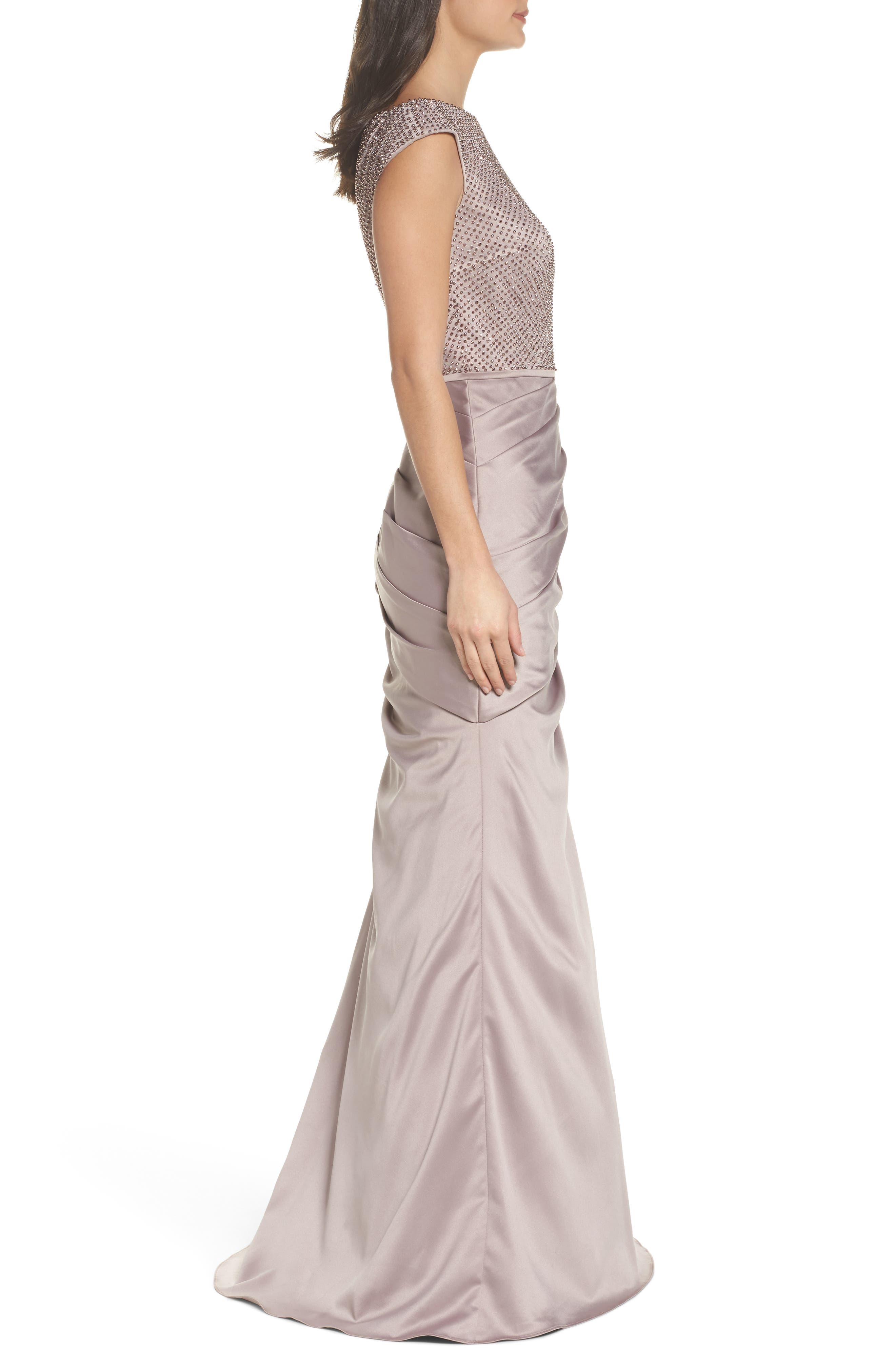 Embellished Bodice Trumpet Gown,                             Alternate thumbnail 3, color,                             CHAMPAGNE