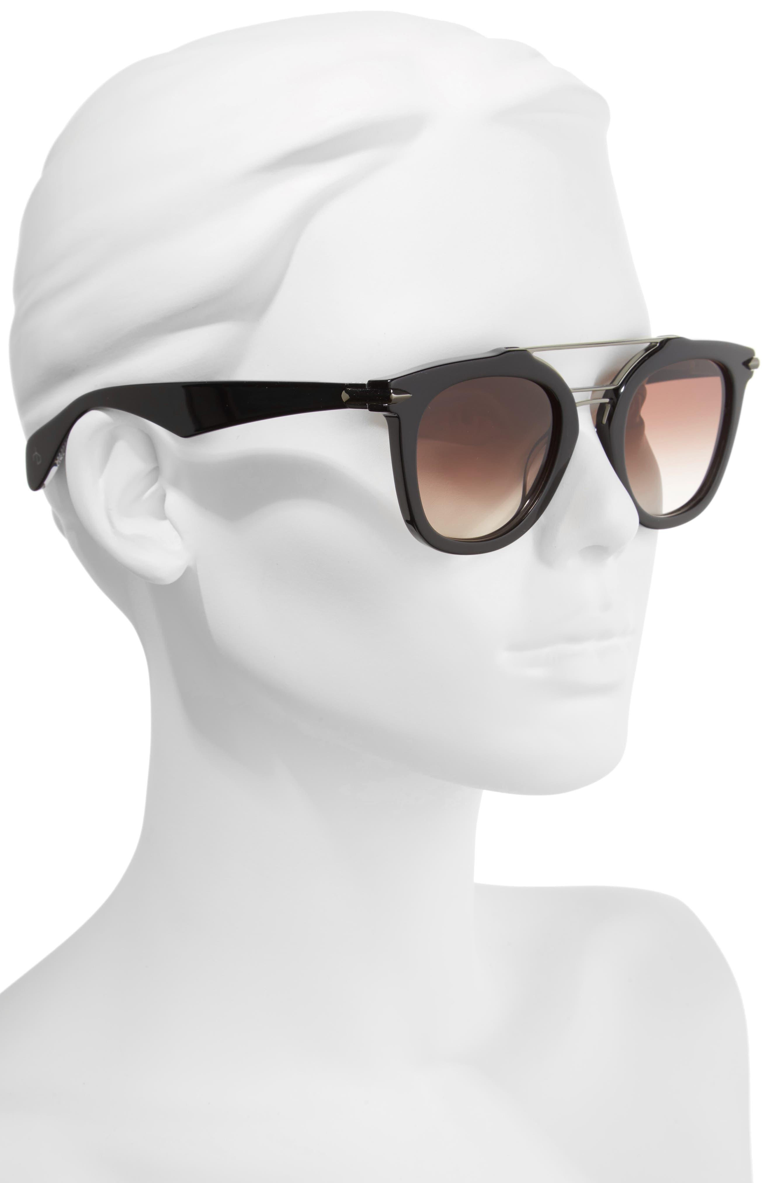 50mm Round Aviator Sunglasses,                             Alternate thumbnail 2, color,                             BLACK