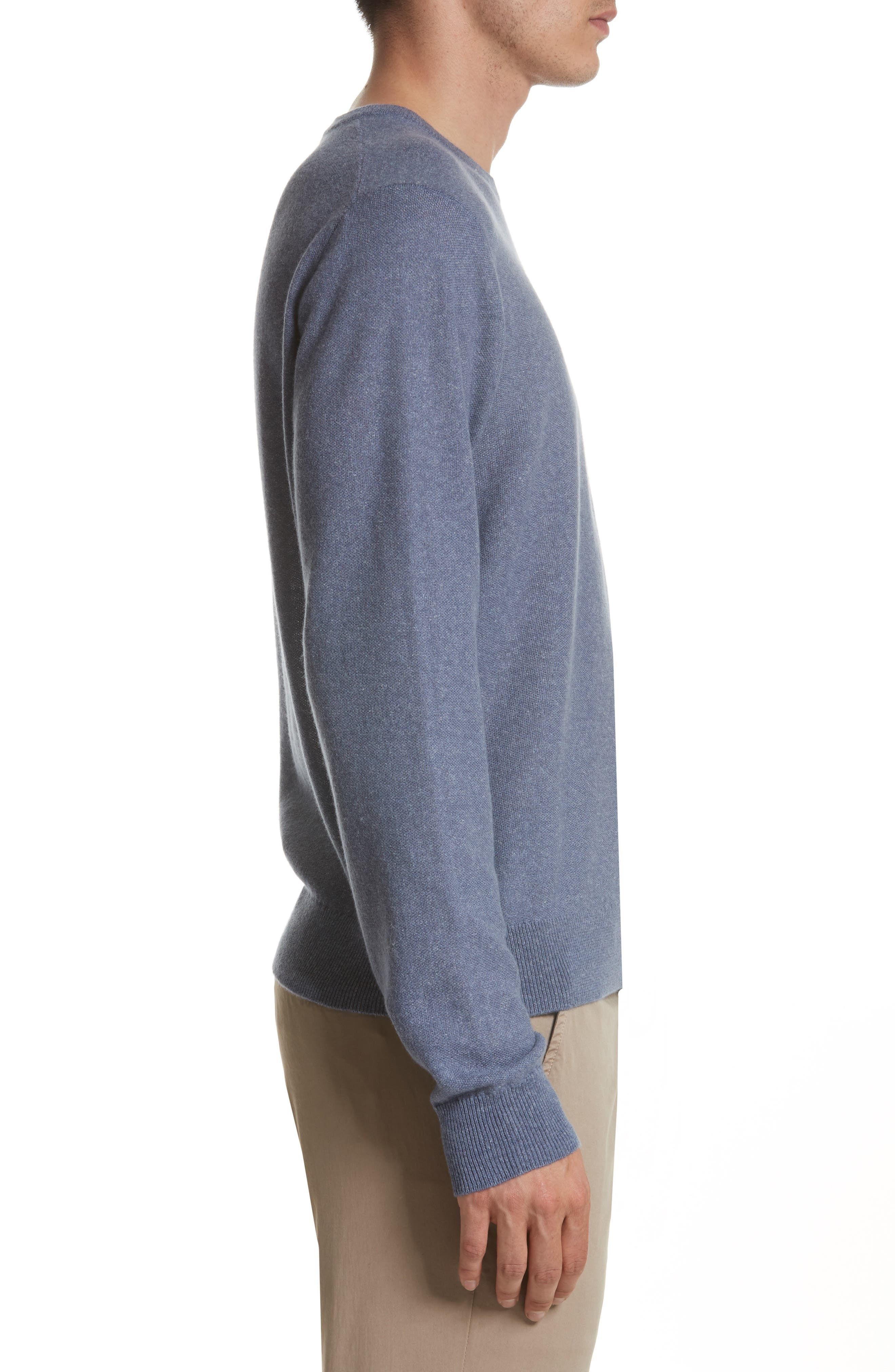 Cashmere & Linen Crewneck Sweater,                             Alternate thumbnail 3, color,                             475