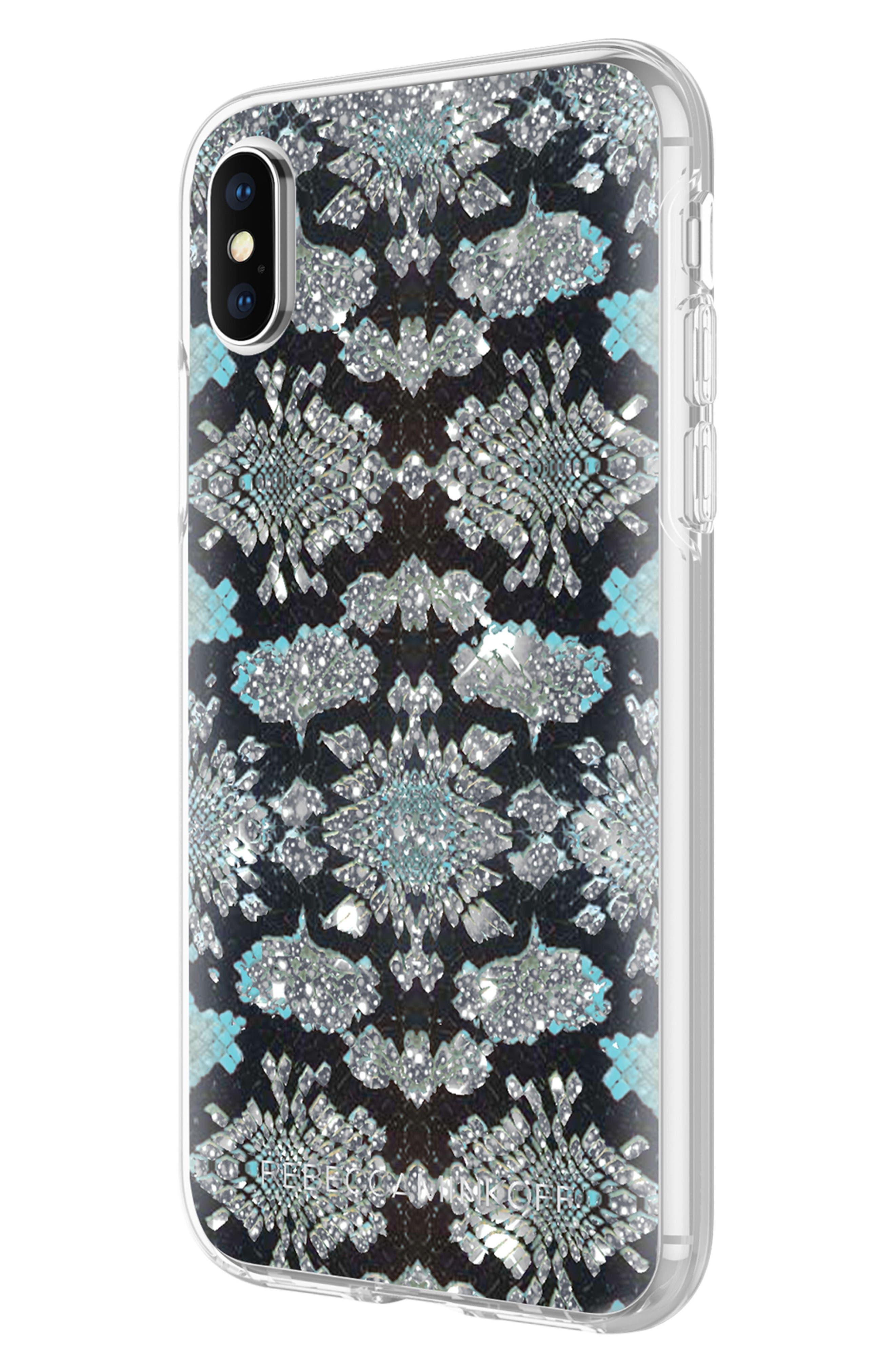 Glitter Snake Print iPhone X Case,                             Alternate thumbnail 6, color,                             001