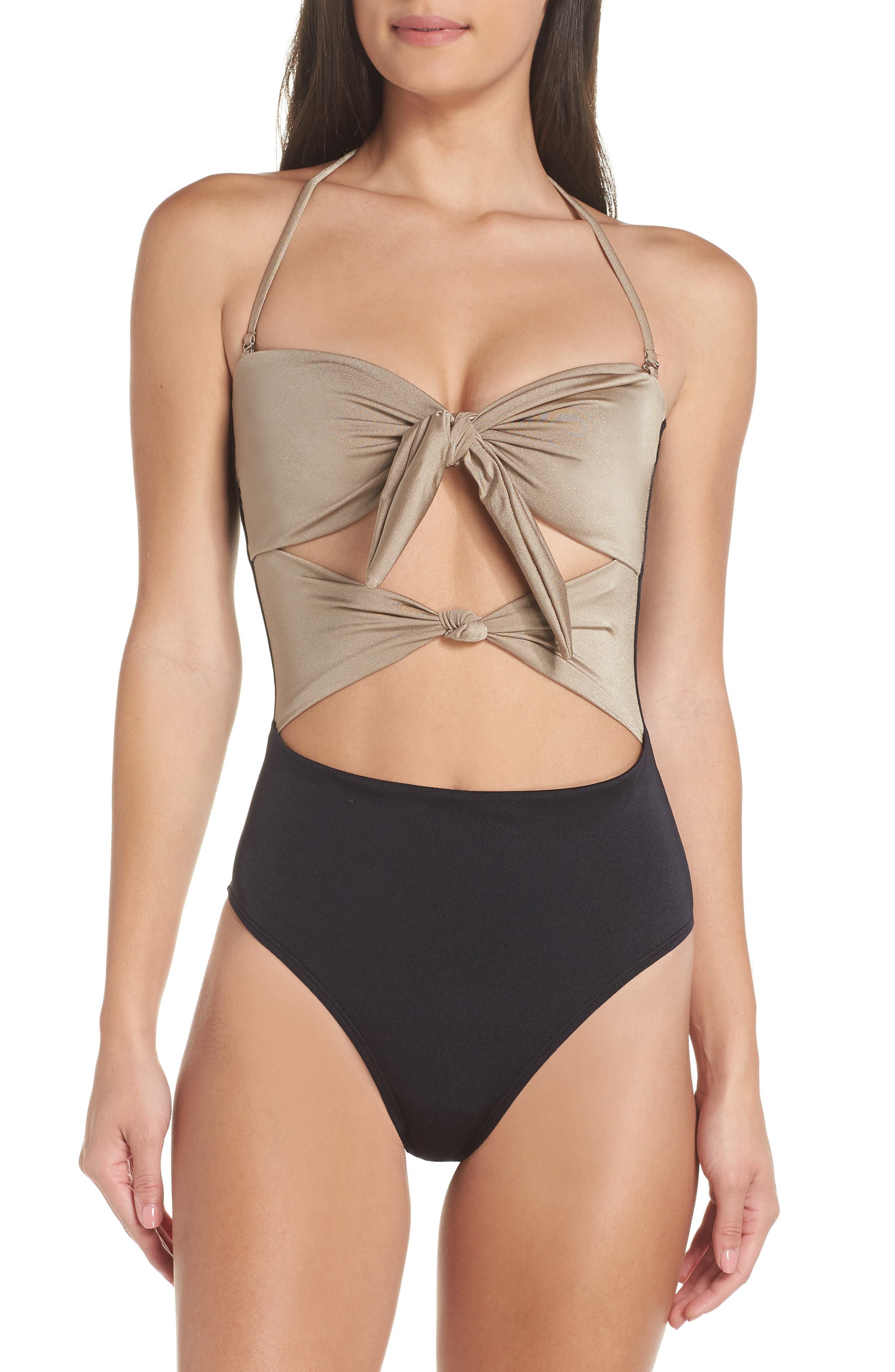 Glam Nights One-Piece Swimsuit,                             Alternate thumbnail 2, color,                             TAN MINK/ BLACK