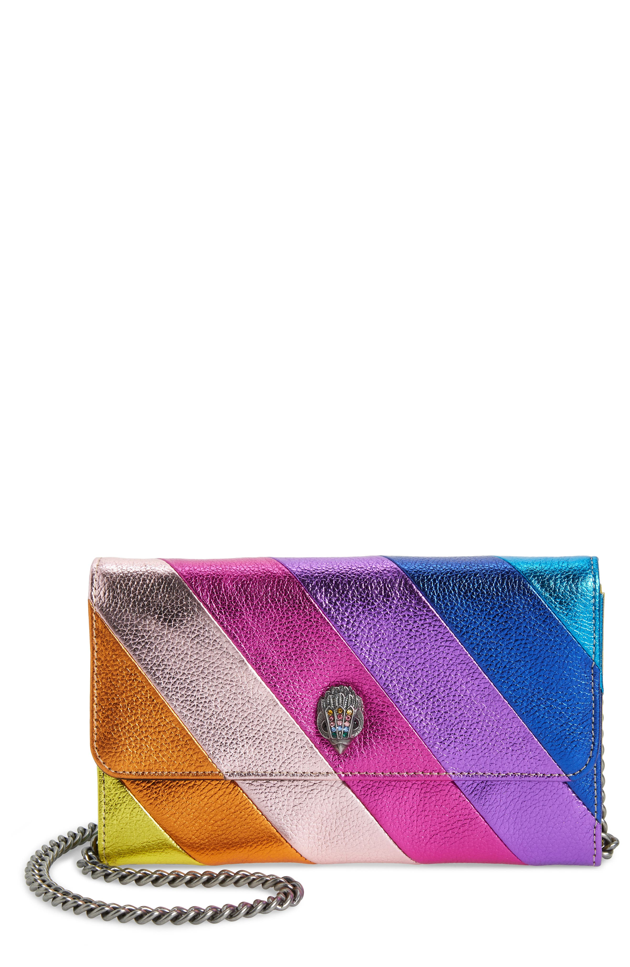 Stripe Leather Chain Wallet, Main, color, MULTI/ OTHER
