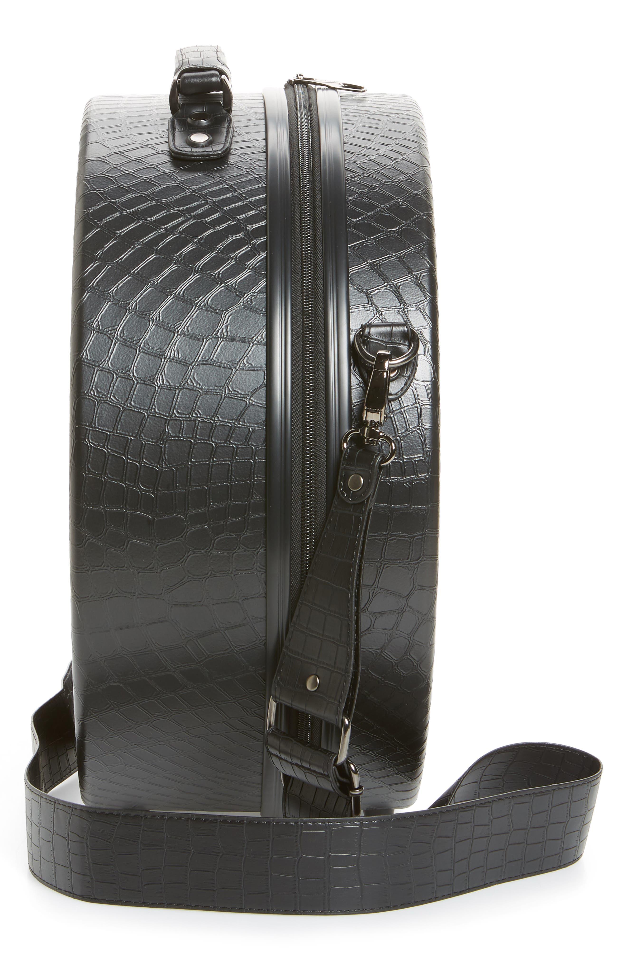 Baye Medium Hardcase Hat Box,                             Alternate thumbnail 3, color,                             BLACK