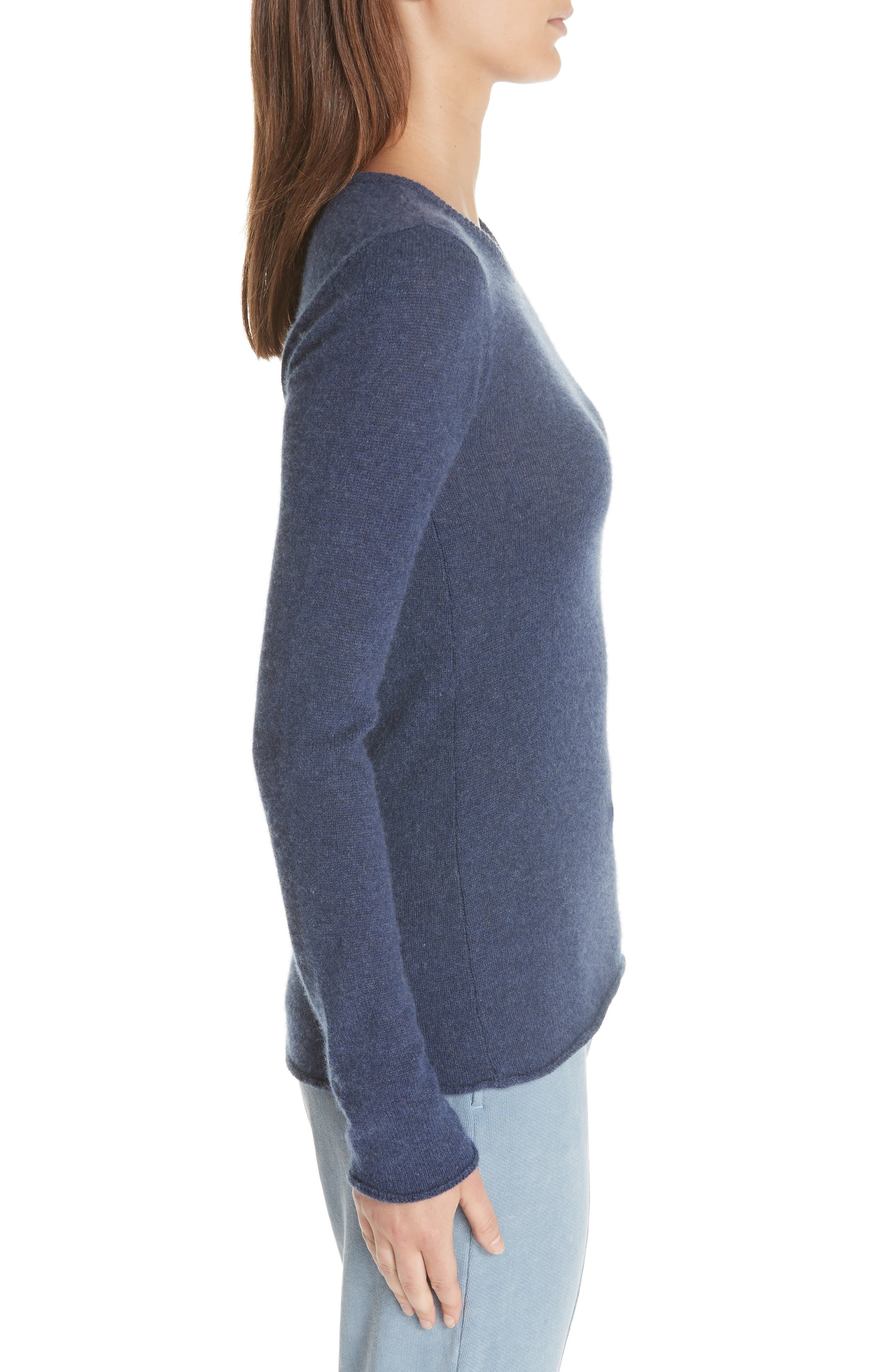Cashmere Sweater,                             Alternate thumbnail 3, color,                             HEATHER NAVY