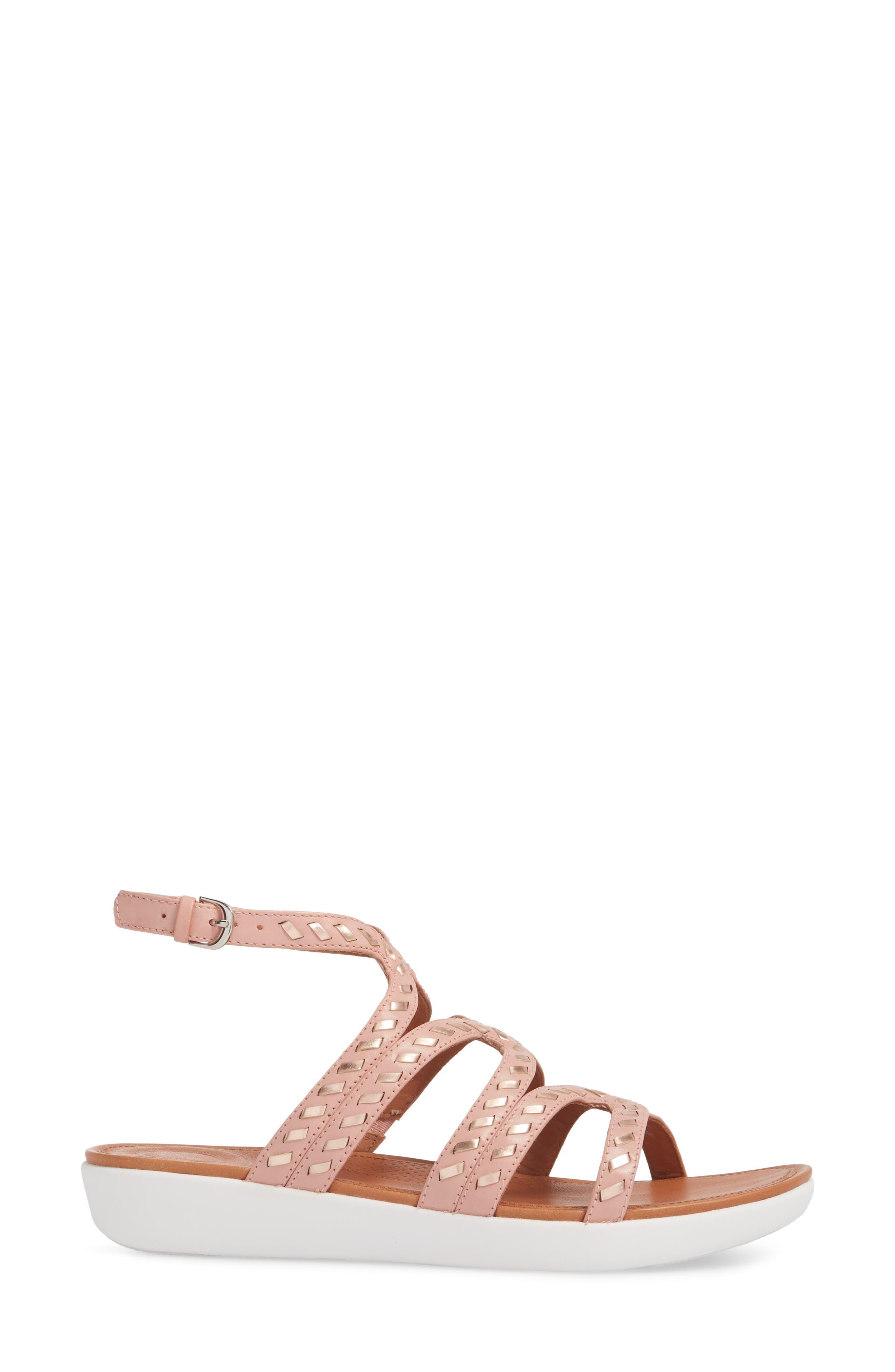 Strata Gladiator Sandal,                             Alternate thumbnail 3, color,                             DUSKY PINK LEATHER