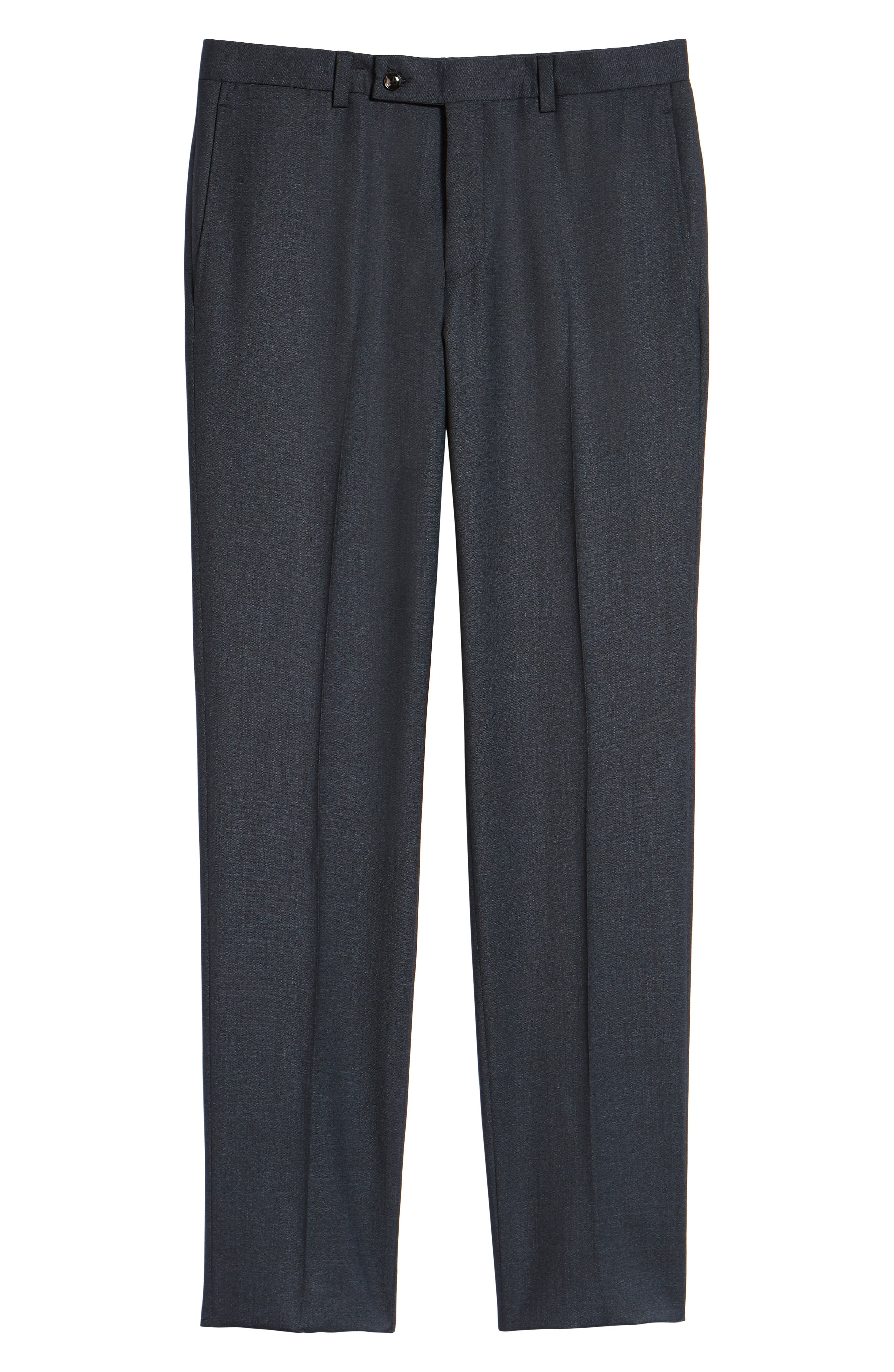 Jefferson Flat Front Solid Wool Trousers,                             Alternate thumbnail 6, color,                             BLUE