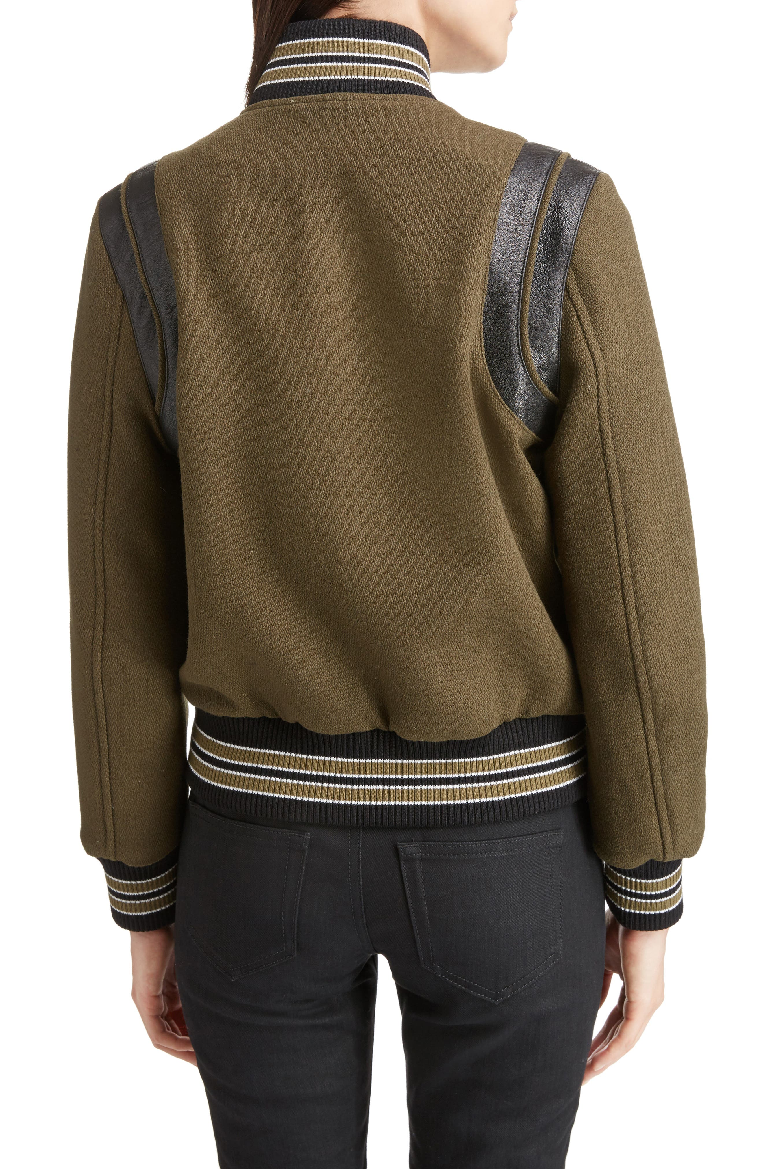 Leather Trim Classic Teddy Jacket,                             Alternate thumbnail 2, color,                             KHAKI/ BLACK