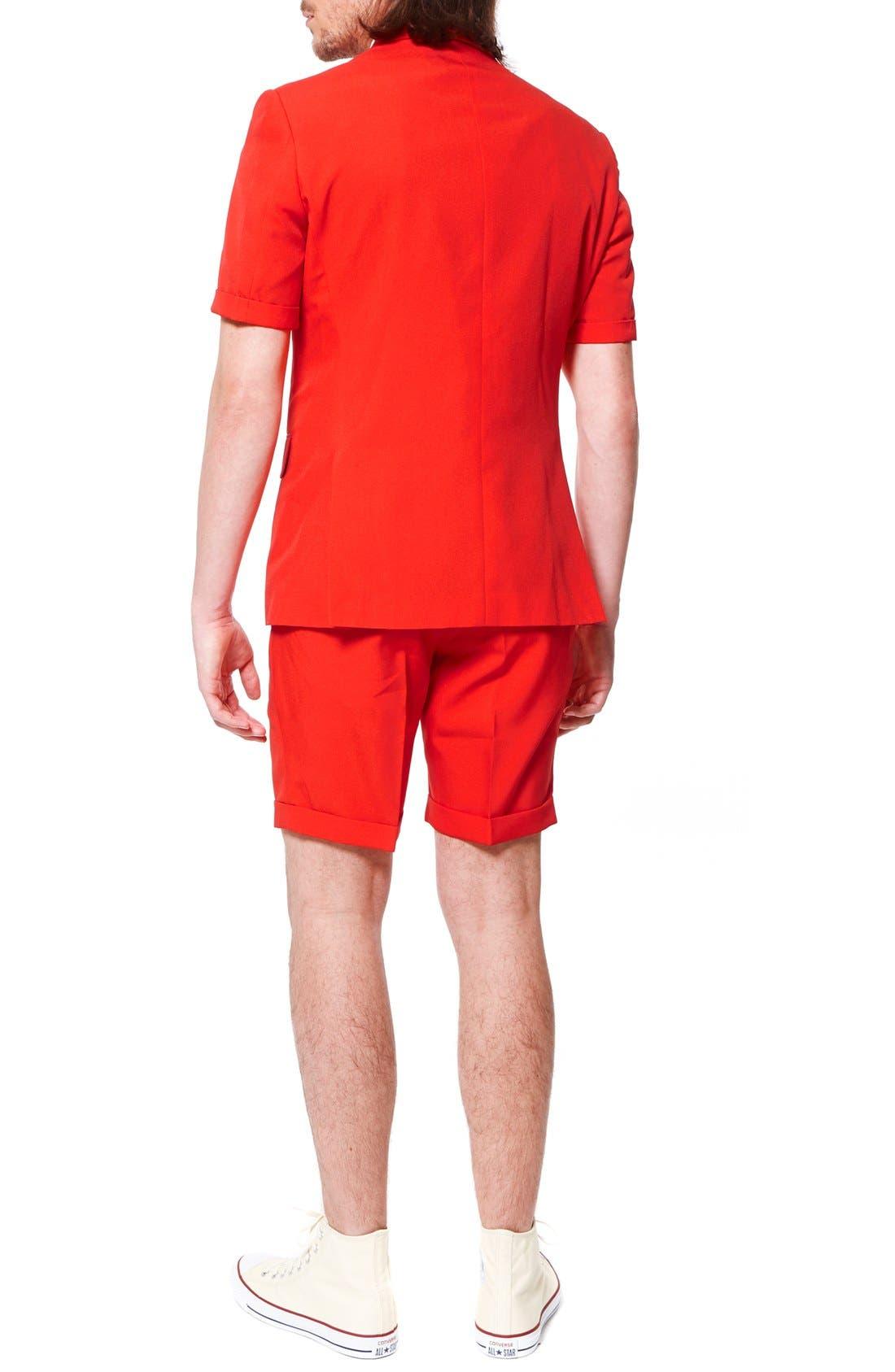 'Summer Red Devil' Trim Fit Short Suit with Tie,                             Alternate thumbnail 2, color,