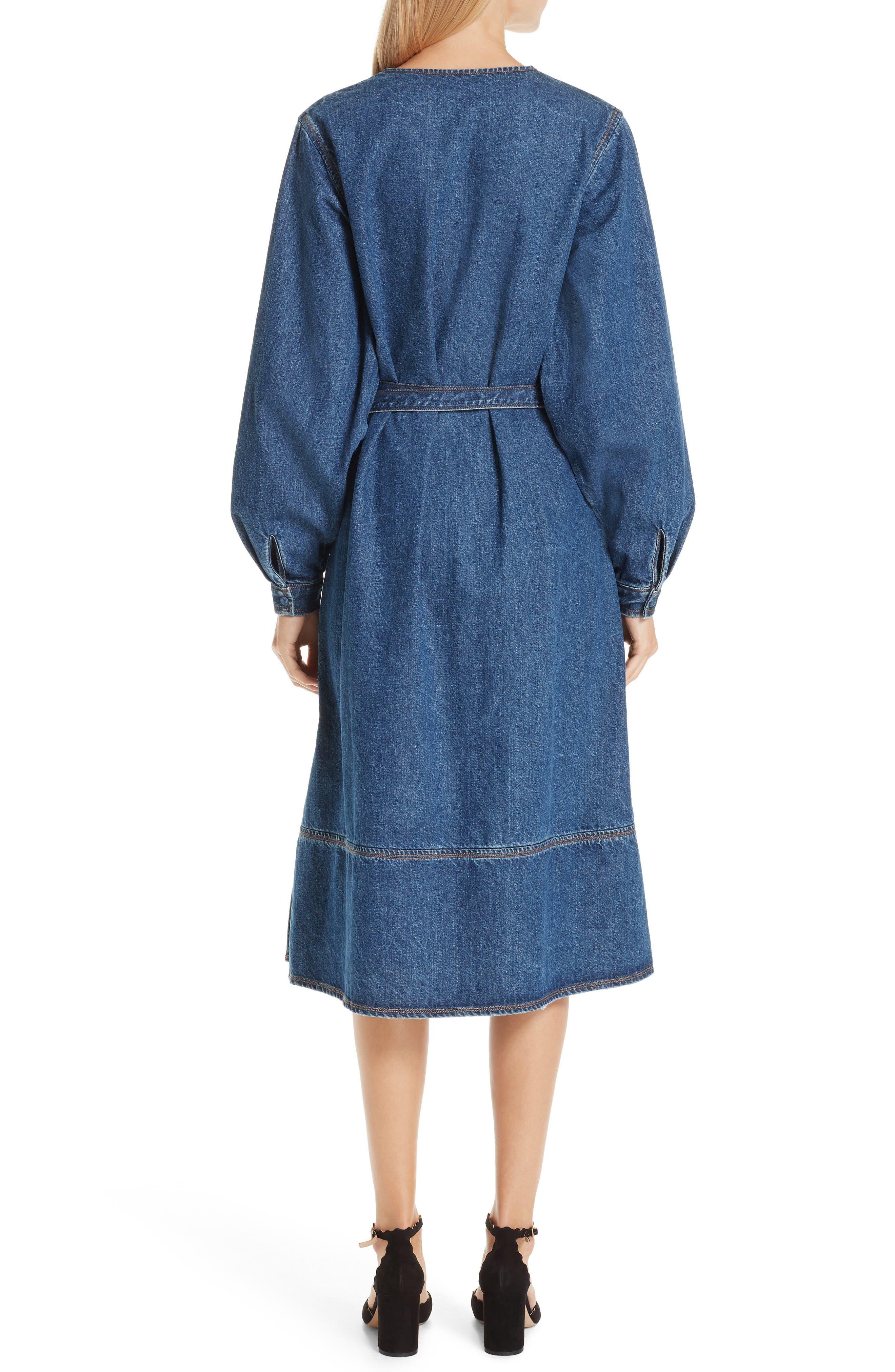 Denim A-Line Dress,                             Alternate thumbnail 2, color,                             INDIGO