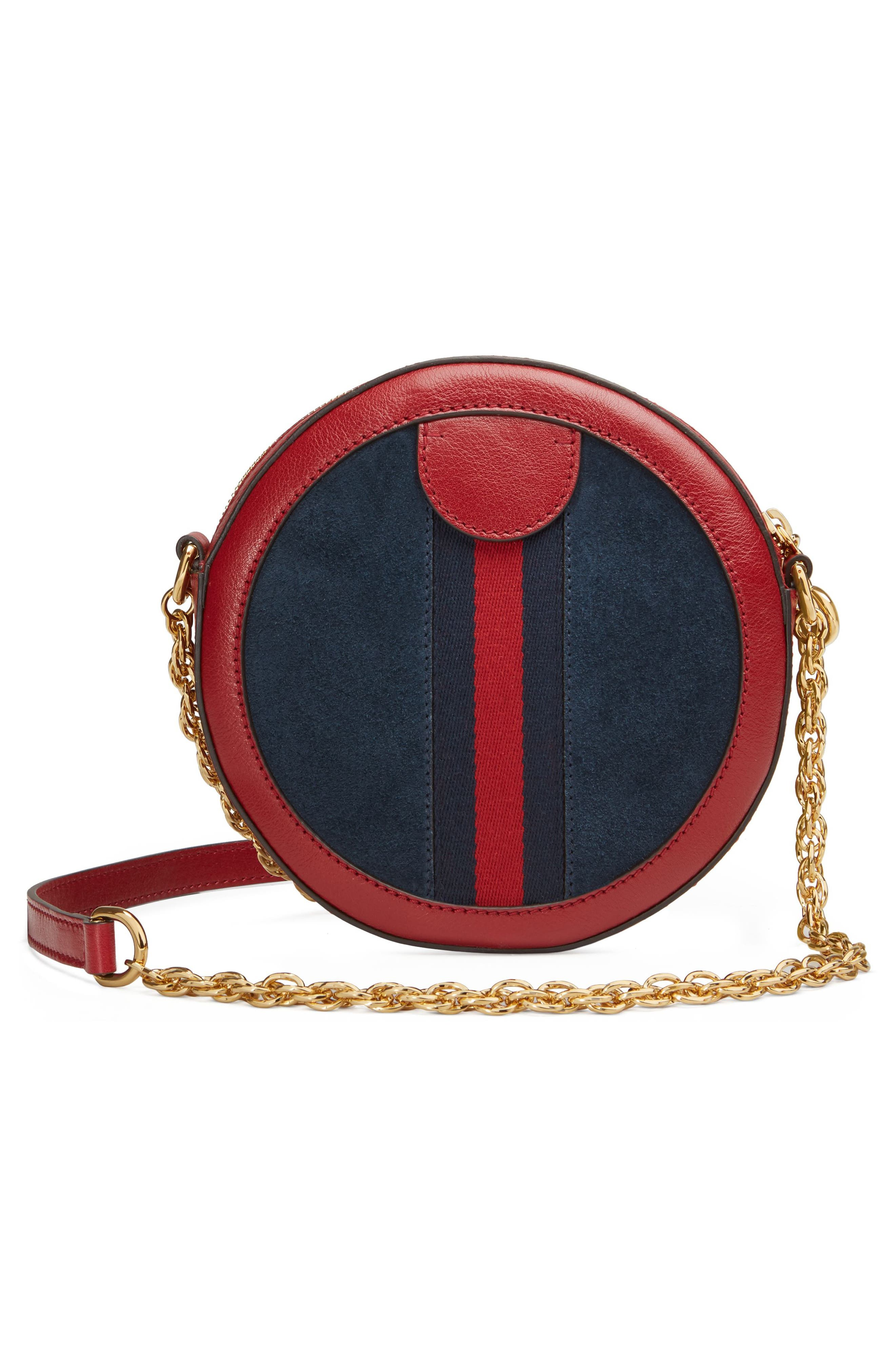 Ophidia Small Suede & Leather Circle Crossbody Bag,                             Alternate thumbnail 2, color,                             NEW BLU/ ROMANTIC CERISE