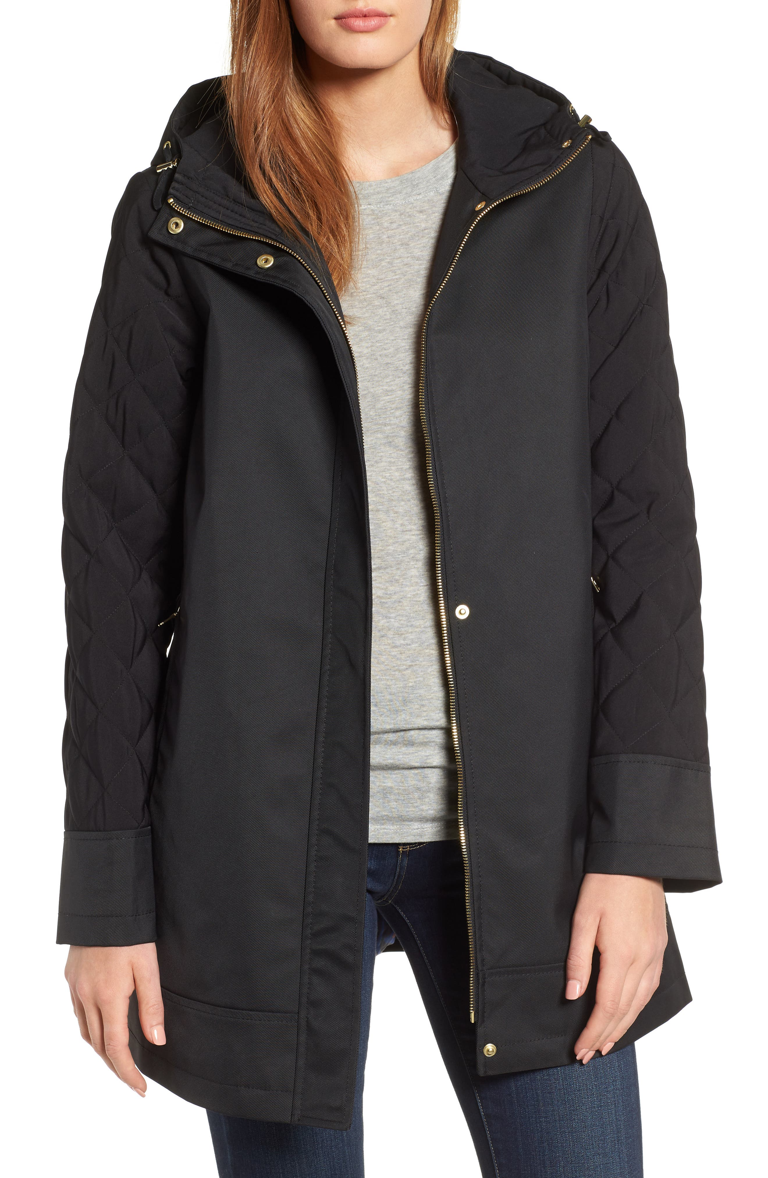 Hallie Quilted Sleeve Twill Parka,                             Main thumbnail 1, color,                             BLACK