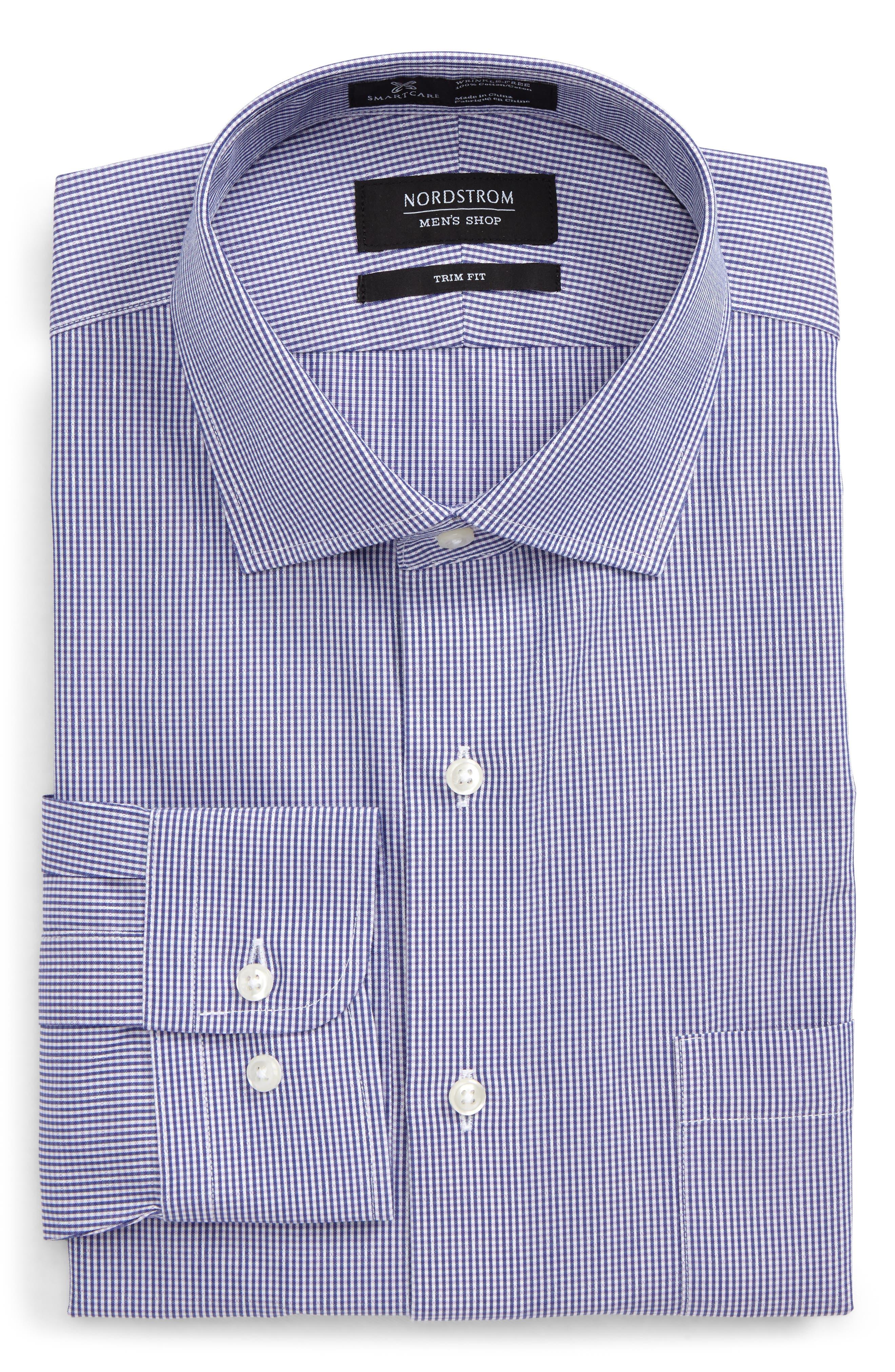 Smartcare<sup>™</sup> Trim Fit Plaid Dress Shirt,                             Main thumbnail 1, color,