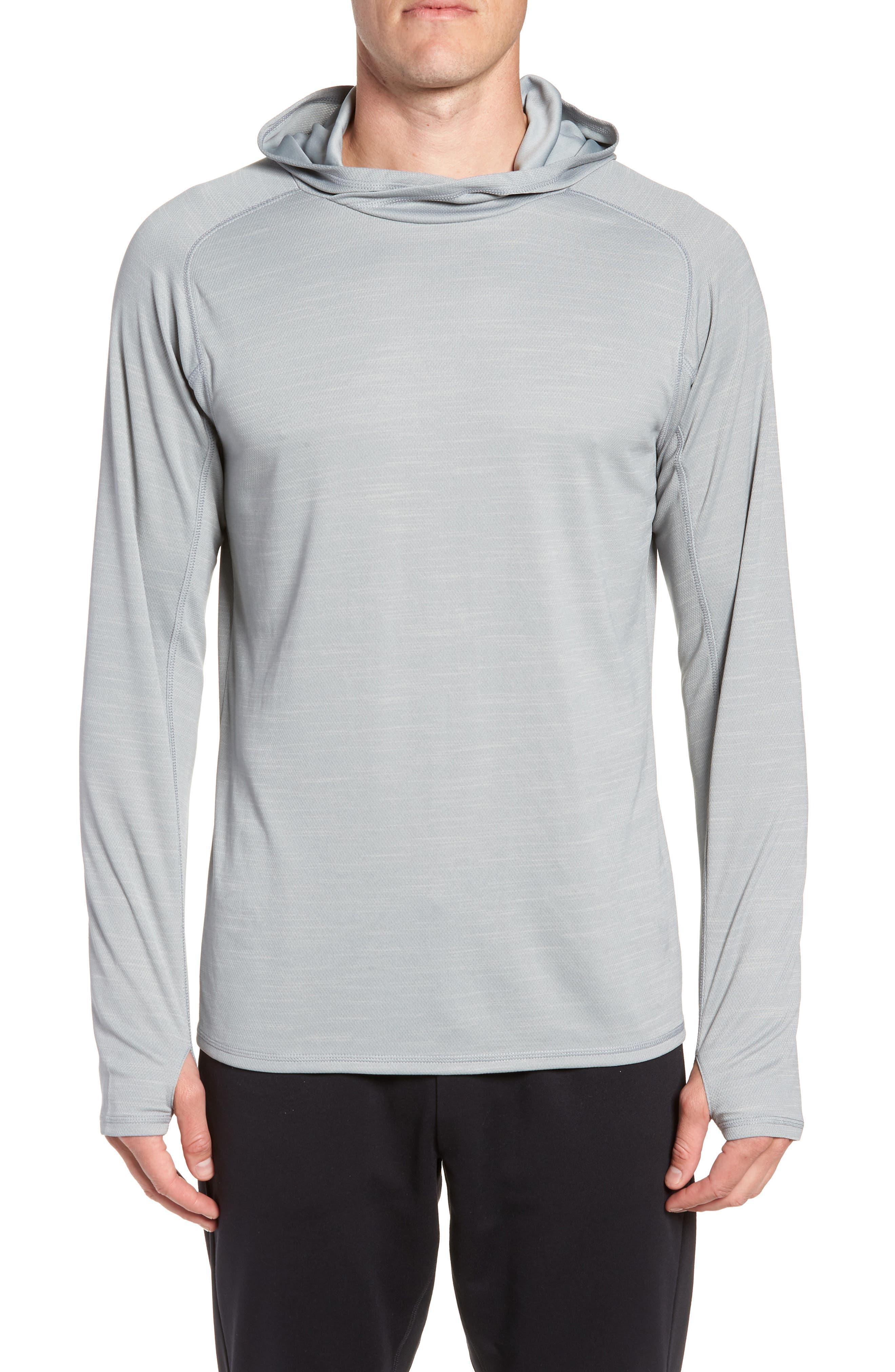 Hooded Pullover,                         Main,                         color, GREY ZIRCON SPACEDYE