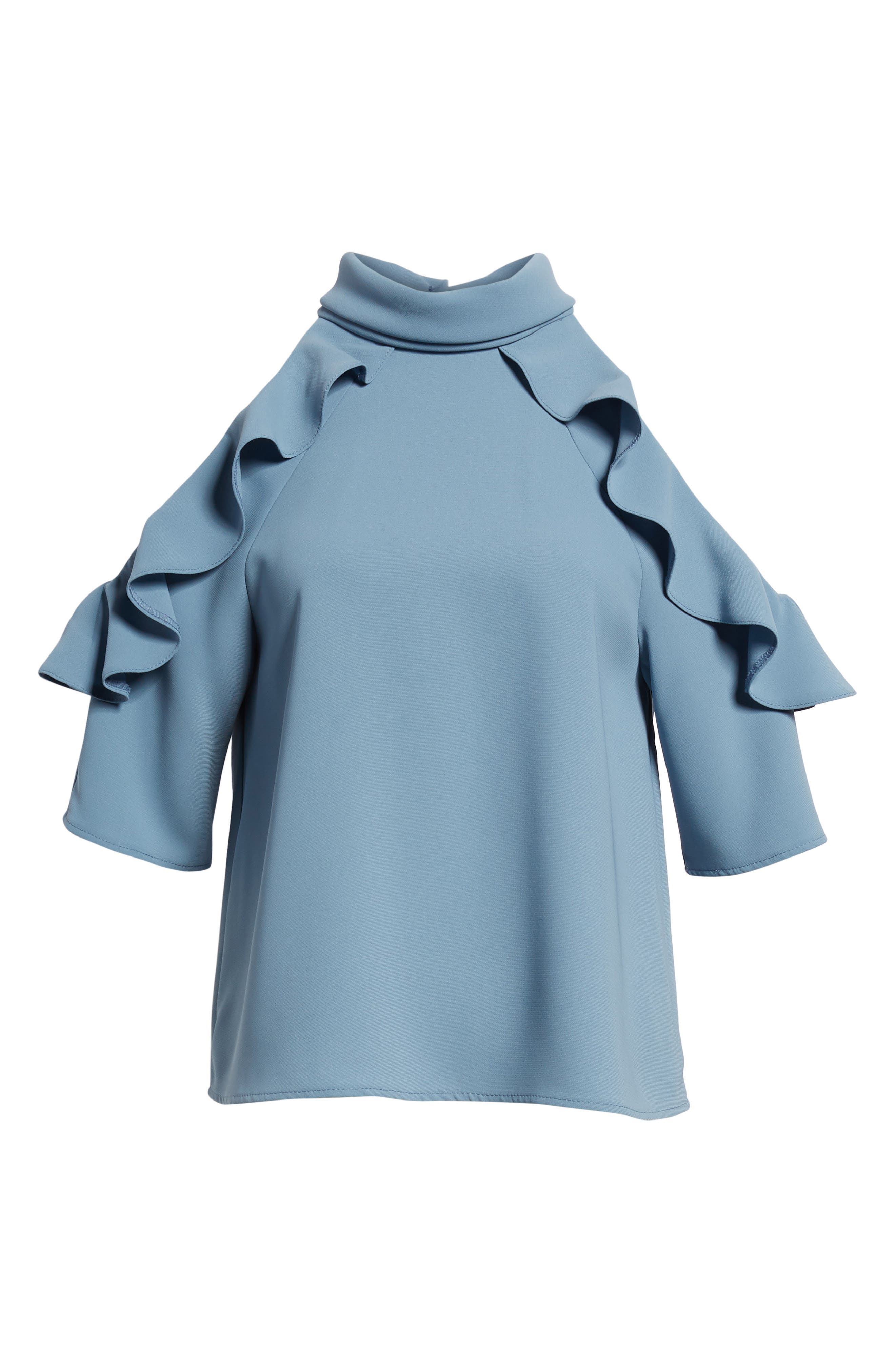Ruffle Cold Shoulder Top,                             Alternate thumbnail 24, color,