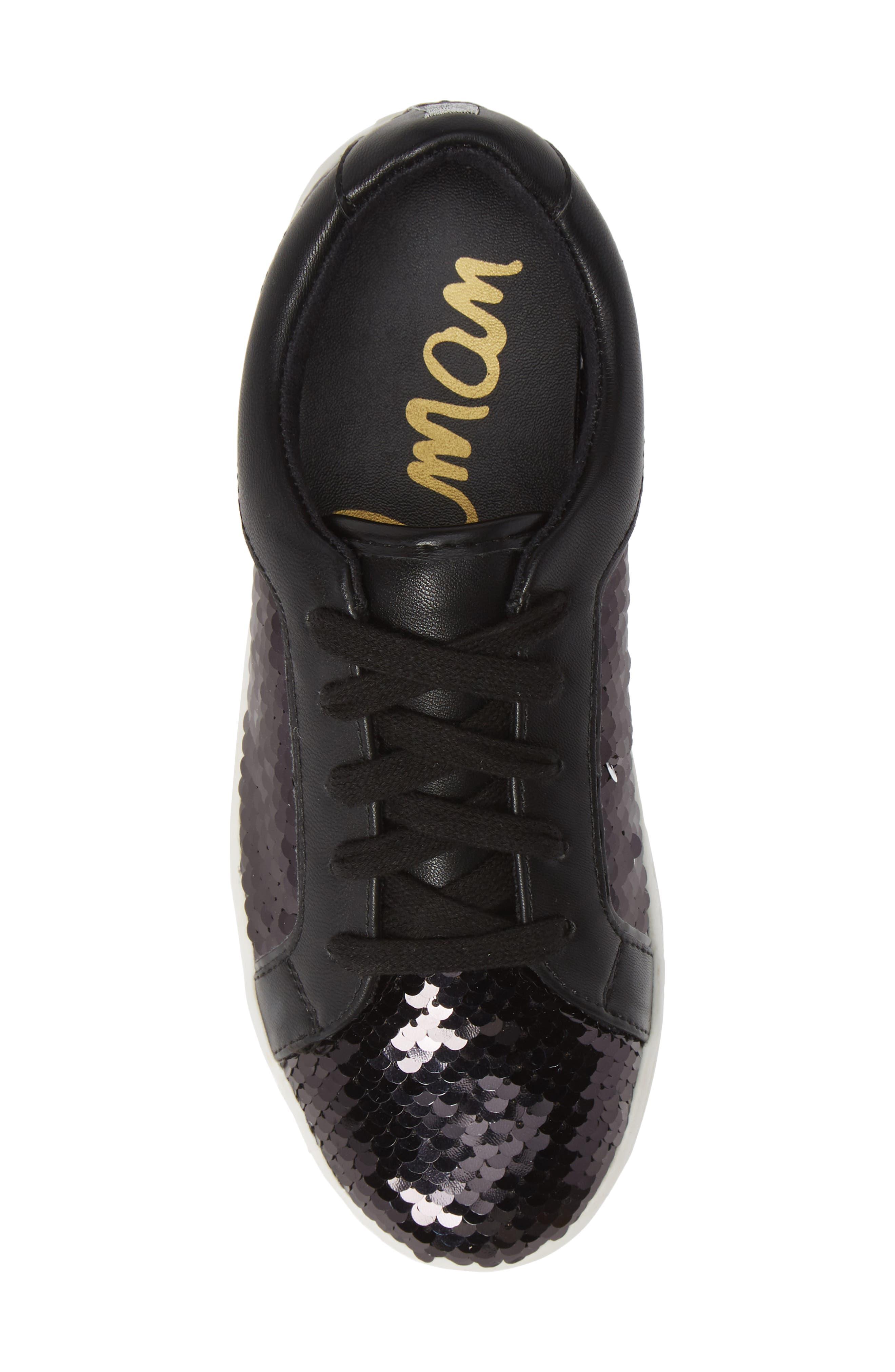 Blane Elizia Sequin Sneaker,                             Alternate thumbnail 5, color,                             BLACK SILVER