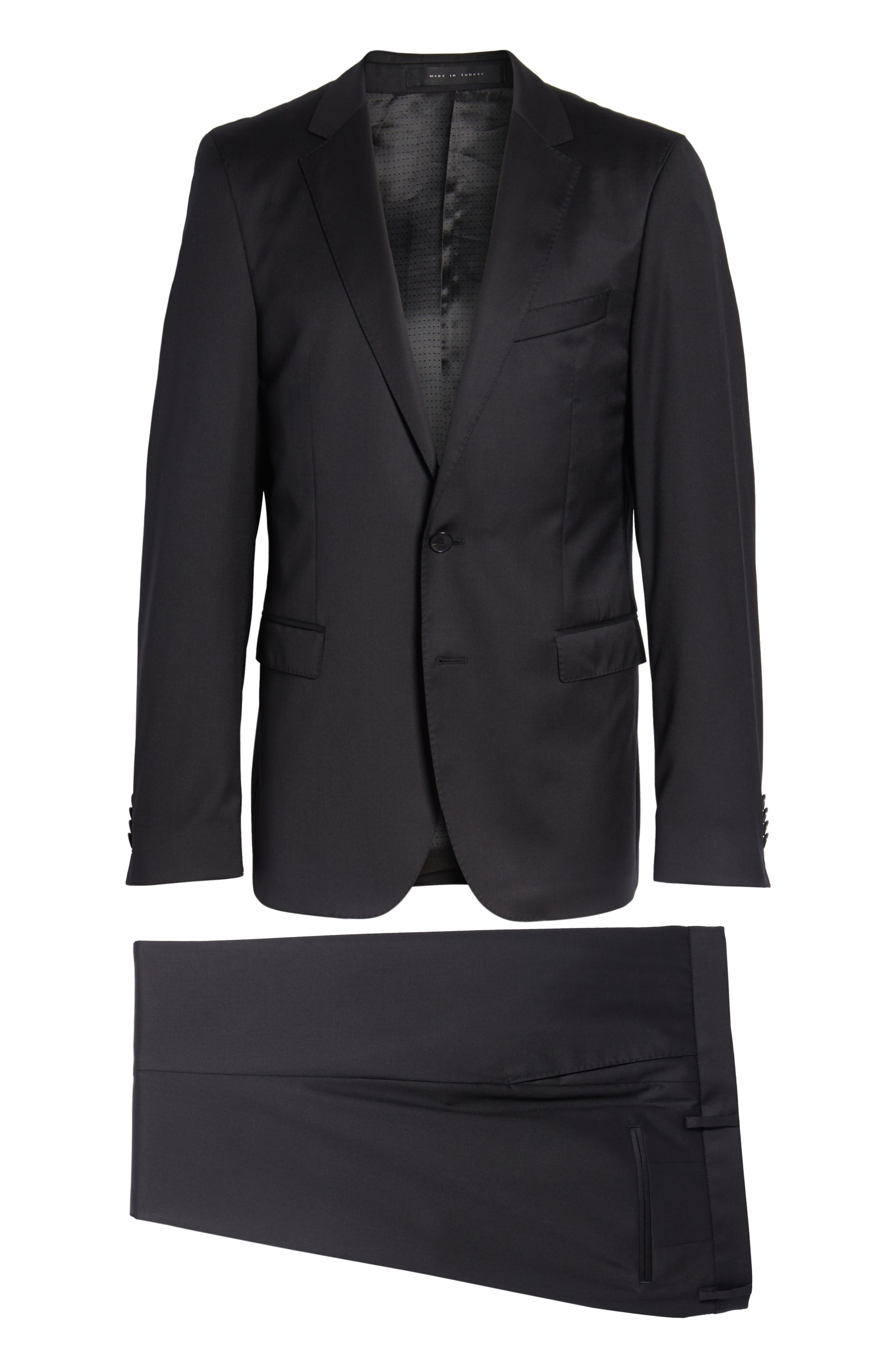 Ryan/Win Extra Trim Fit Solid Wool Suit,                             Alternate thumbnail 11, color,                             BLACK