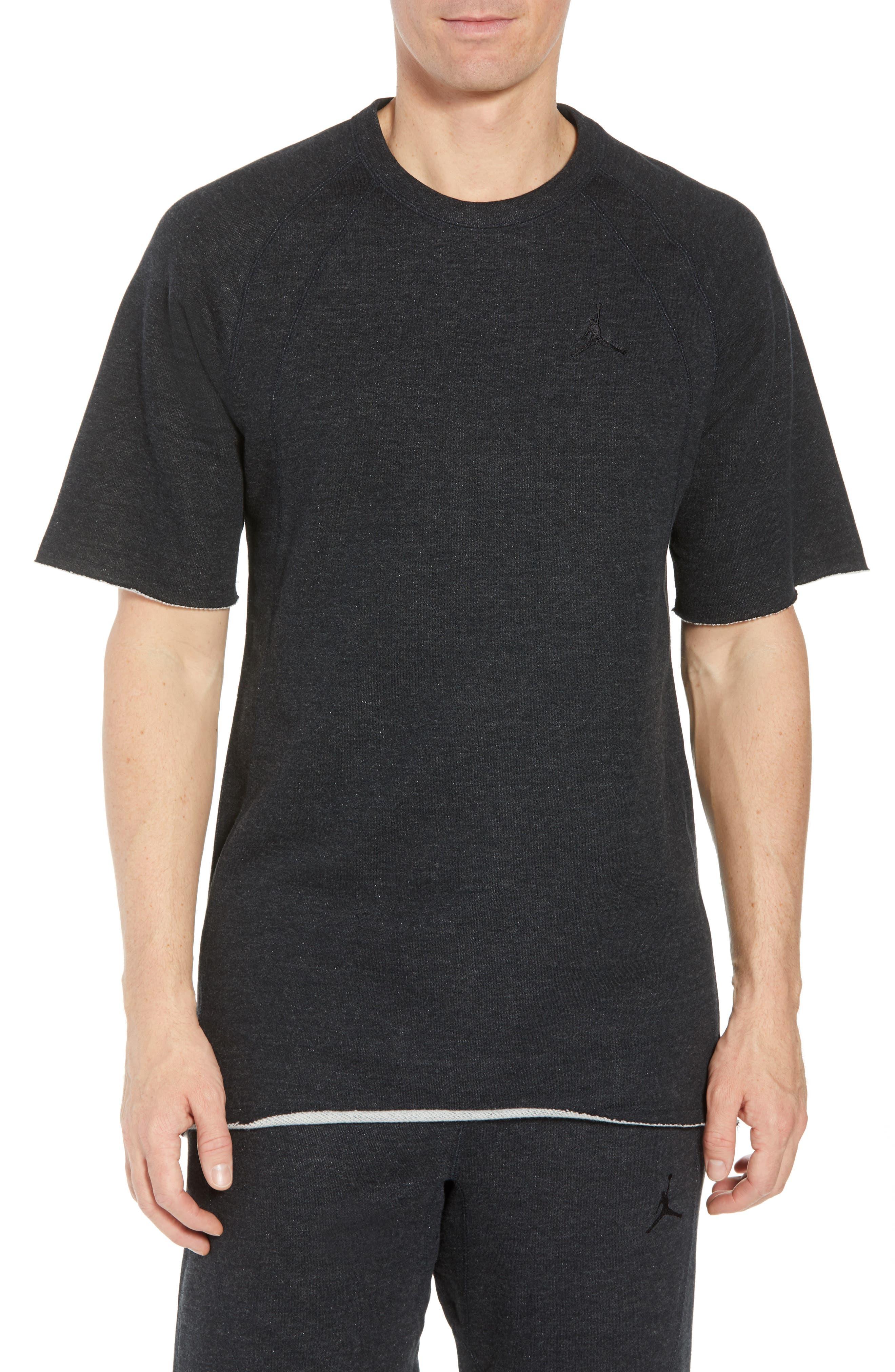 Wings Light Short Sleeve Sweatshirt,                         Main,                         color, BLACK HEATHER/ BLACK