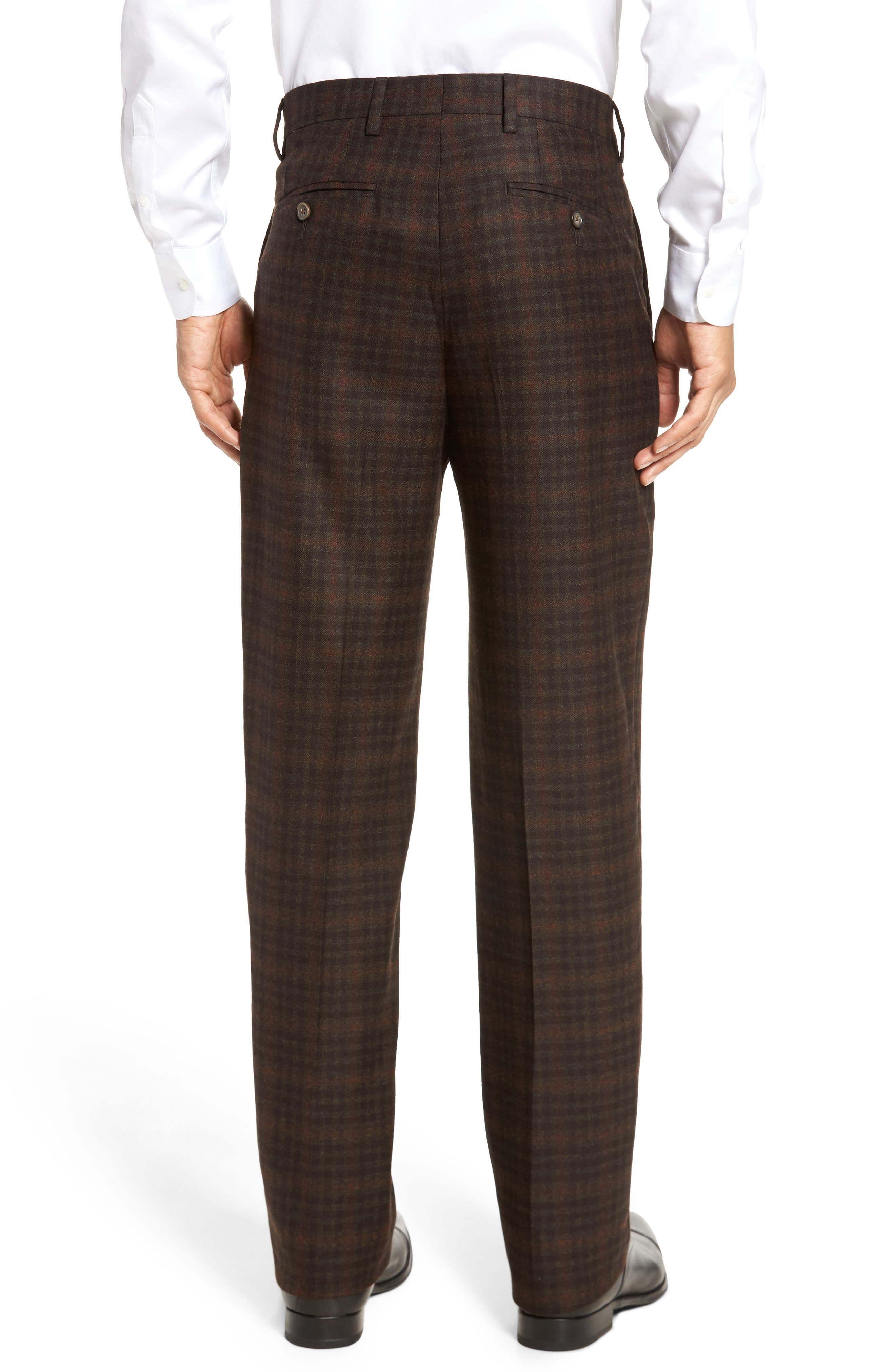 Flat Front Plaid Wool Trousers,                             Alternate thumbnail 3, color,                             200