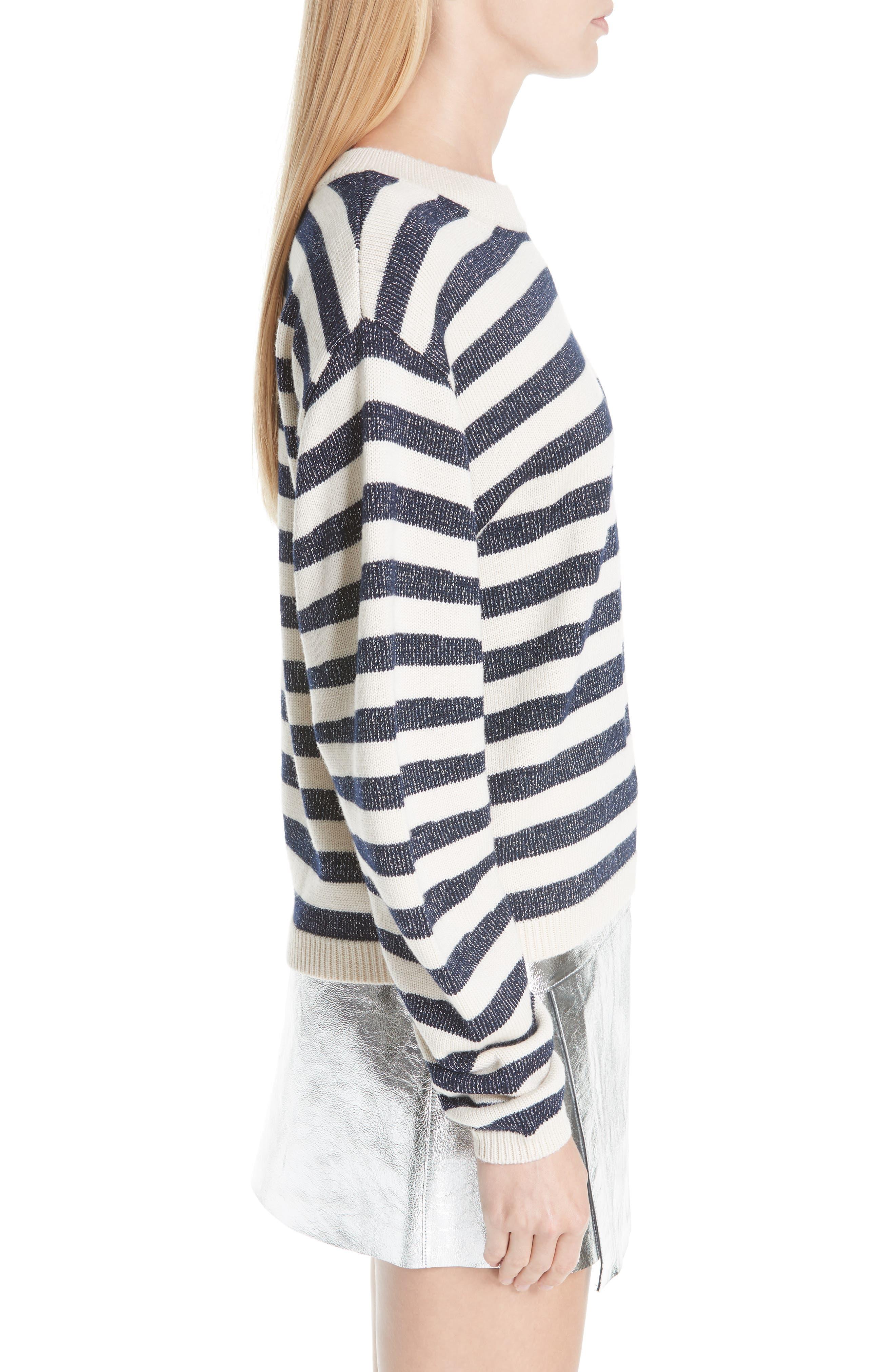 Sunday Stripe Wool Blend Sweater,                             Alternate thumbnail 3, color,                             WHITE