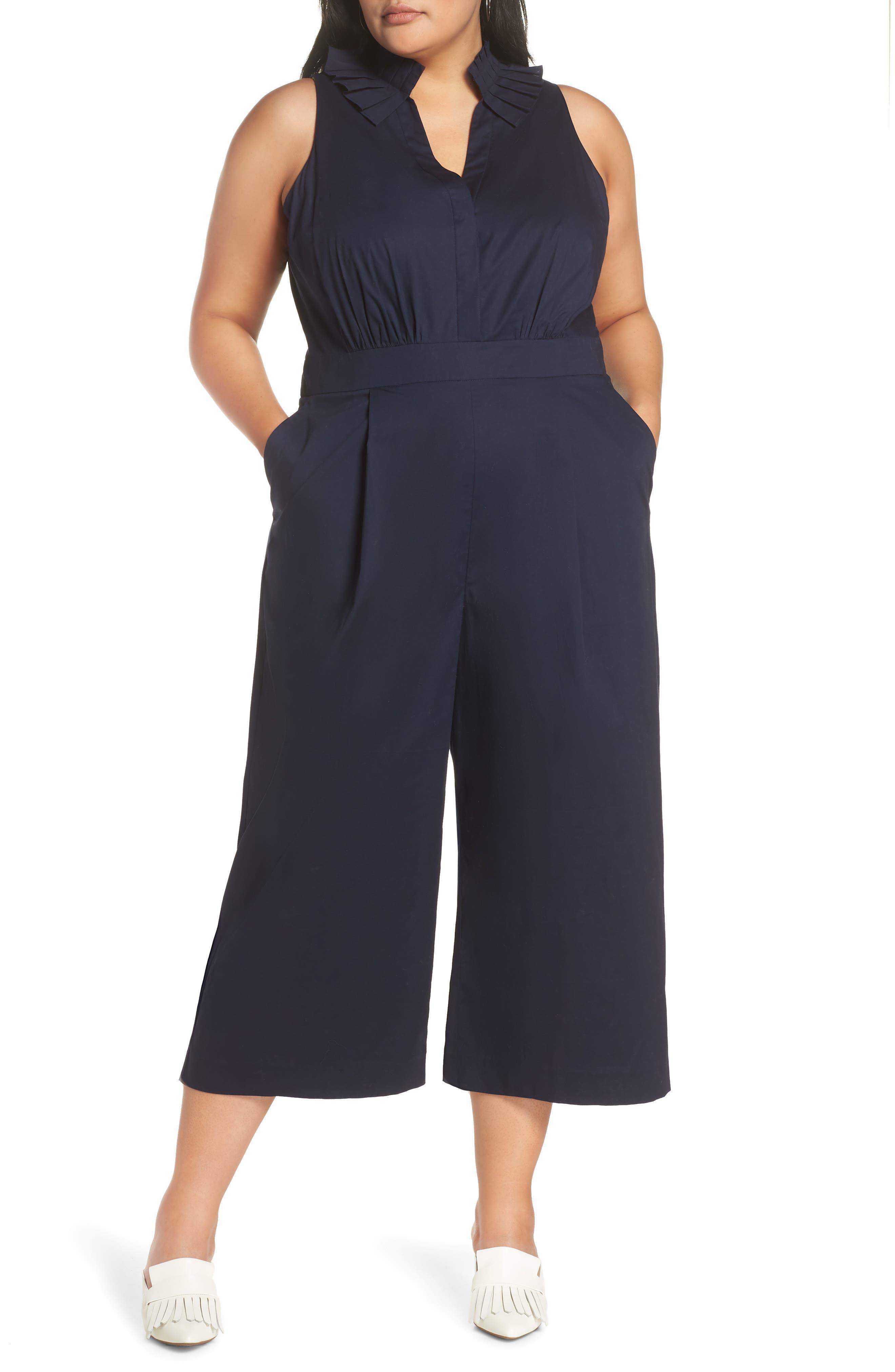 Pleat Collar Sleeveless Jumpsuit, Main, color, NAVY