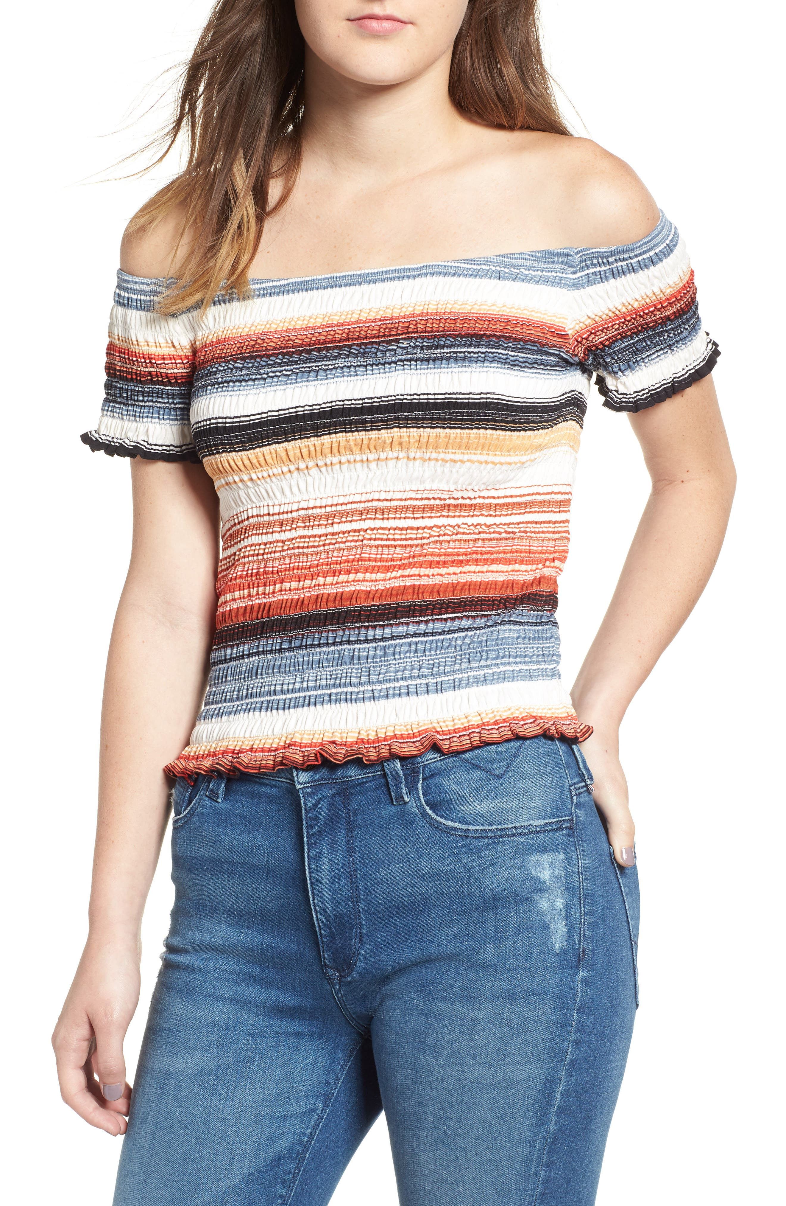 Stripe Smocked Off the Shoulder Top,                             Main thumbnail 1, color,                             BLUE RUST