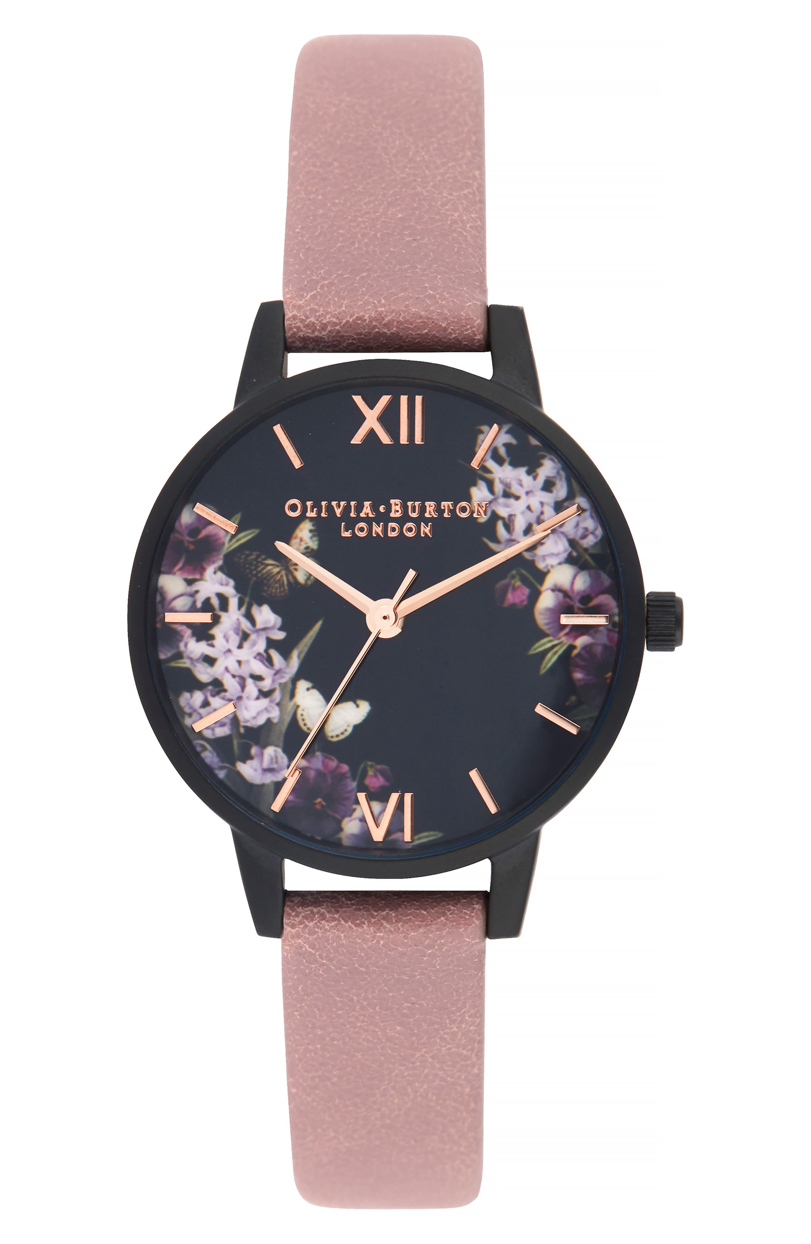 After Dark Leather Strap Watch, 30mm, Main, color, DUSTY ROSE/ FLORAL/ BLACK