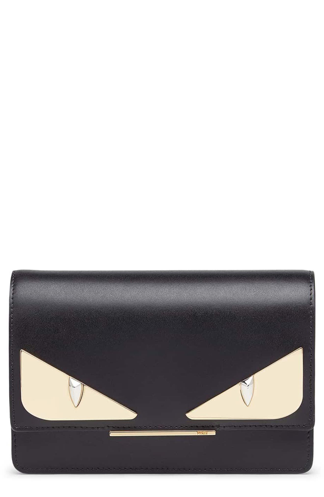 FENDI Tube Monster Leather Wallet on a Chain, Main, color, 006