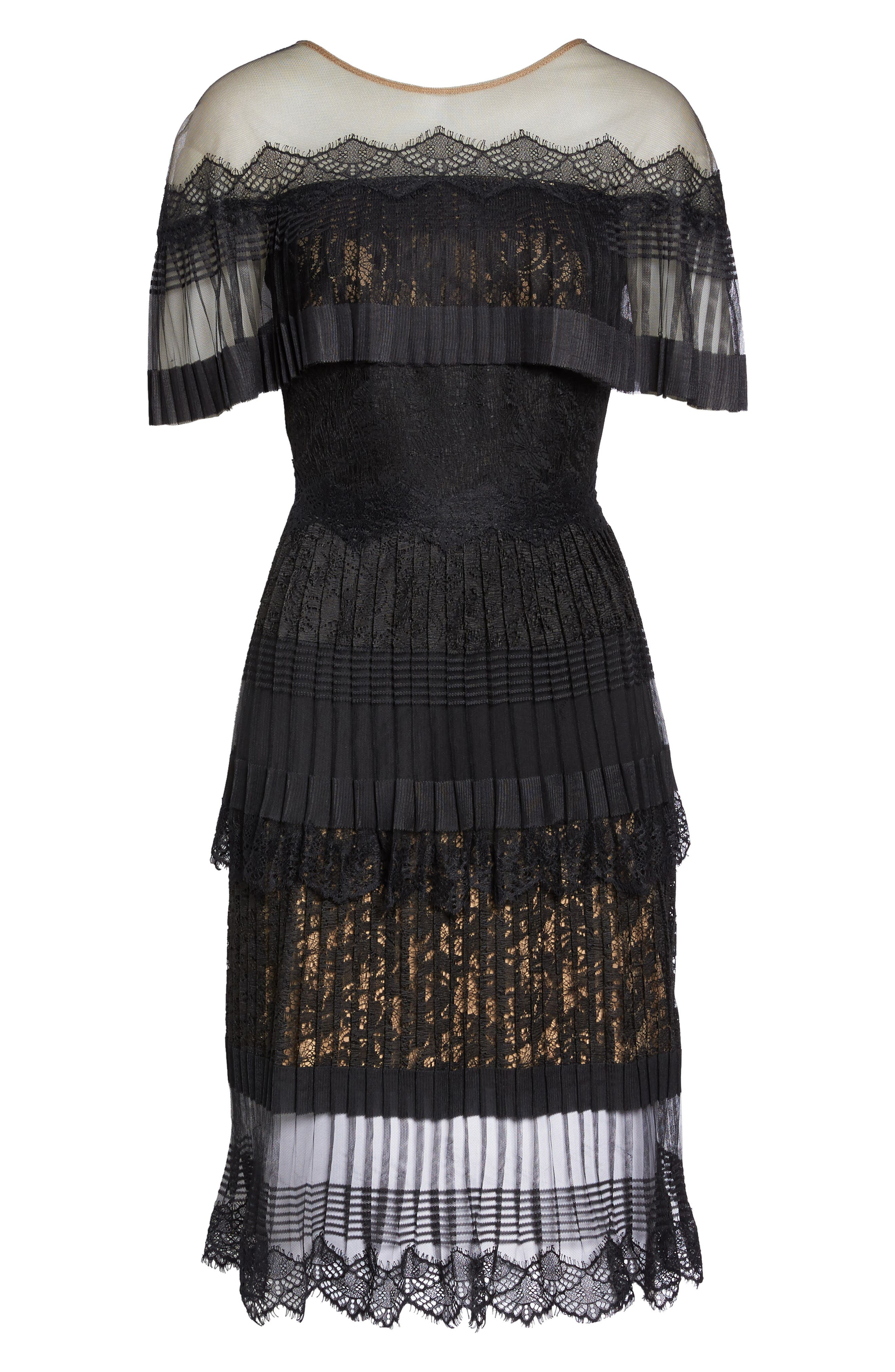 Pleated Lace Dress,                             Alternate thumbnail 6, color,                             004