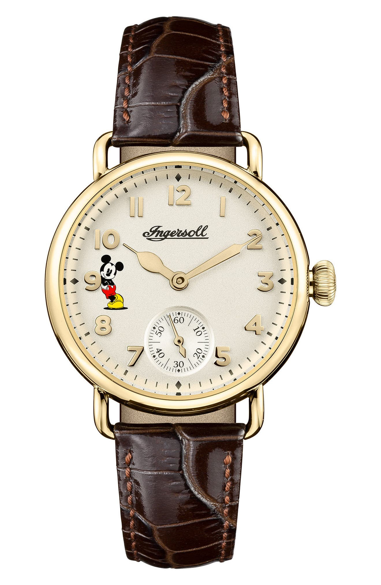 Ingersoll Trenton Disney Leather Strap Watch, 31mm,                         Main,                         color, BROWN/ WHITE/ GOLD