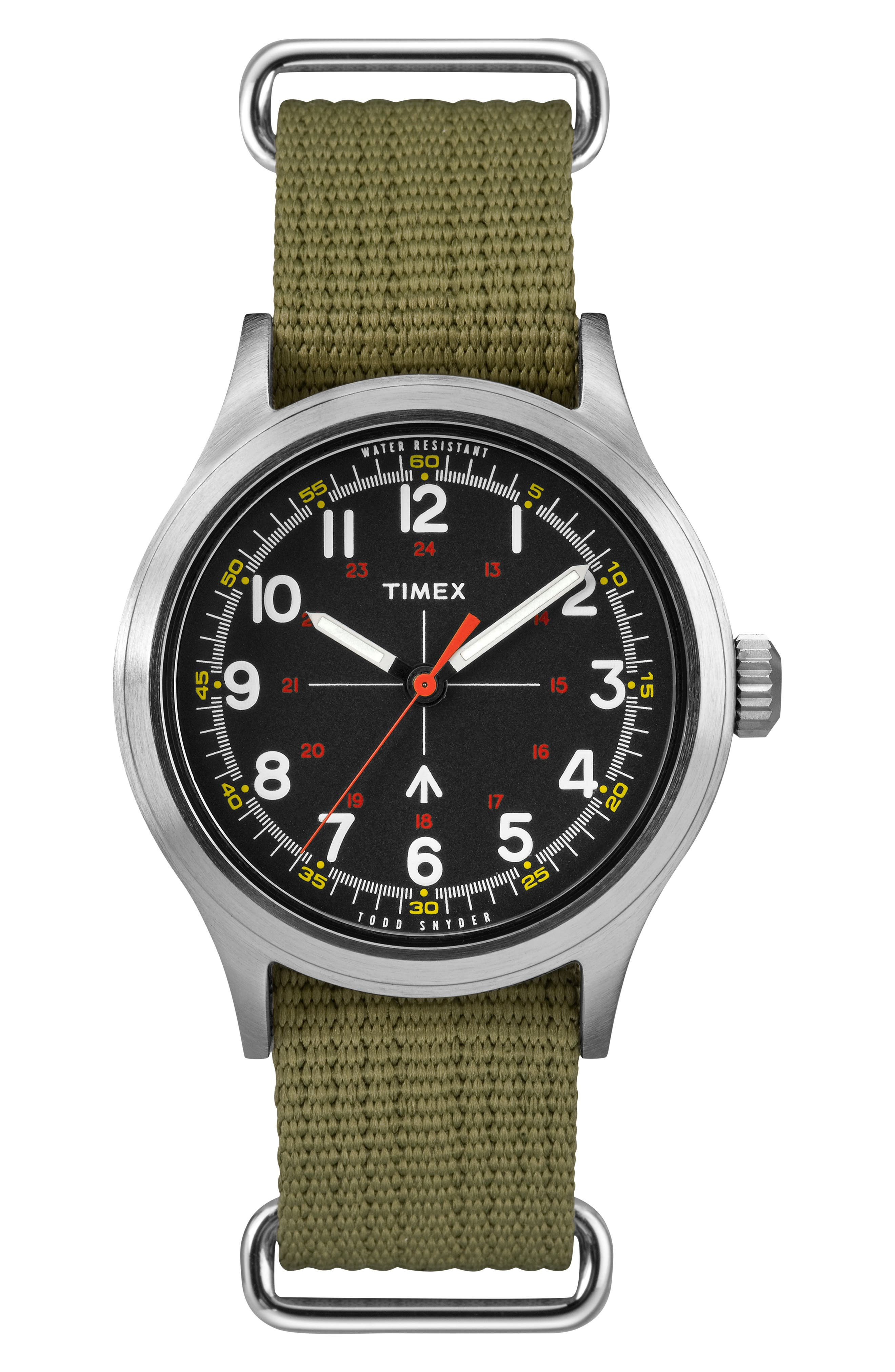 Timex<sup>®</sup> x Todd Snyder The Military NATO Strap Watch, 40mm,                             Main thumbnail 1, color,                             BLACK/ GREEN