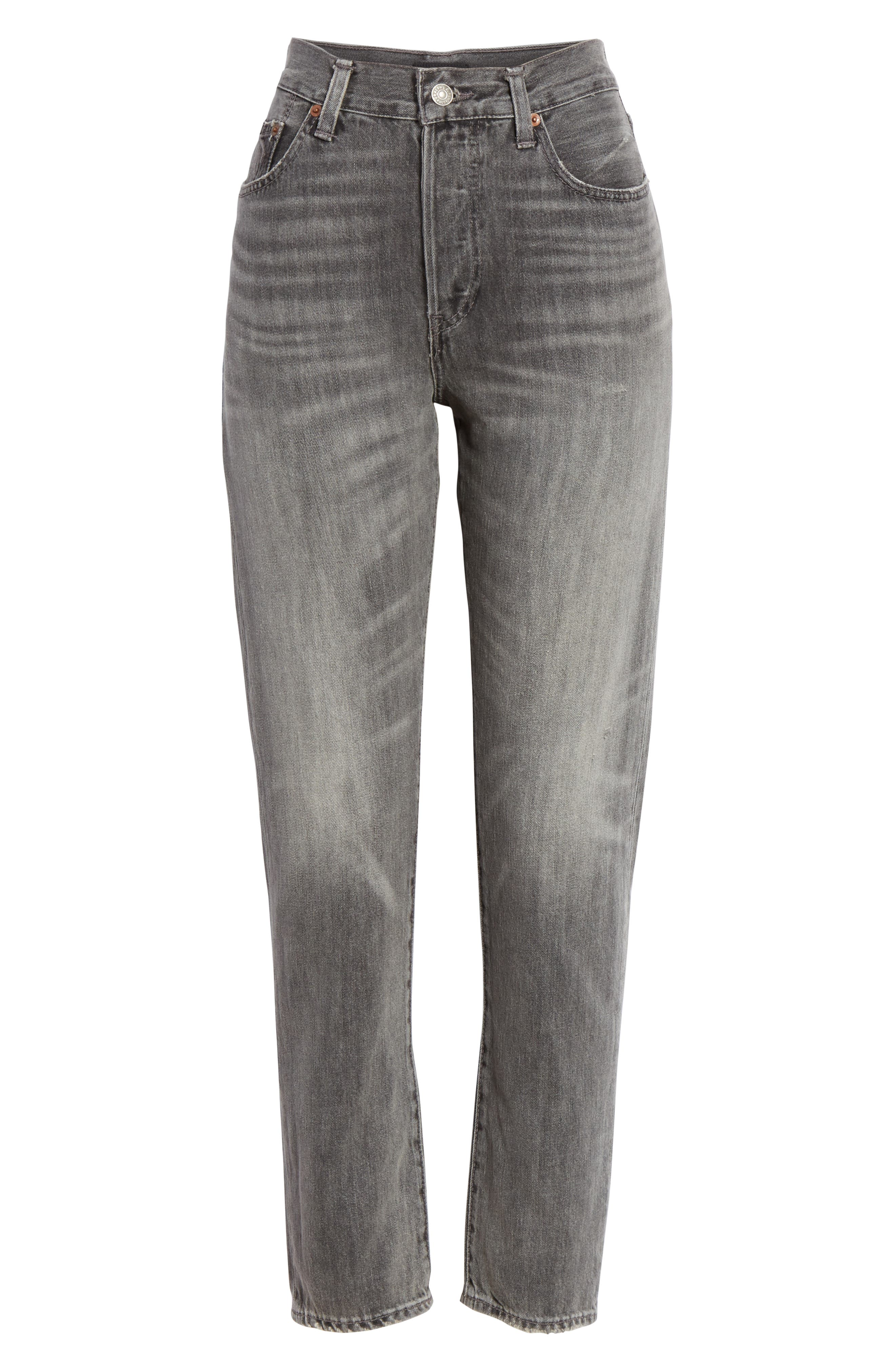 High Waist Slim Straight Crop Jeans,                             Alternate thumbnail 6, color,                             GREY