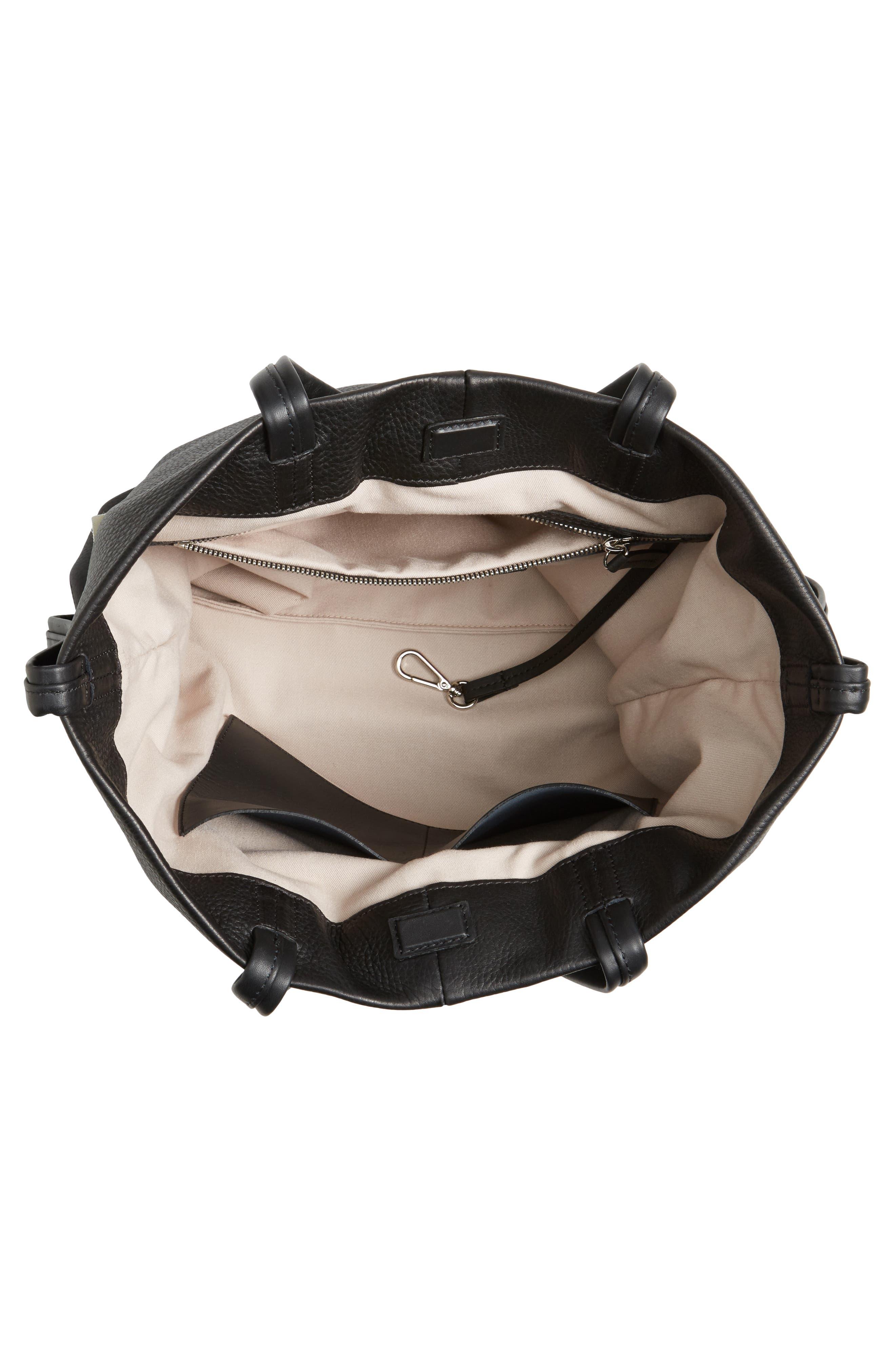 Latigo Square Pebbled Leather Shopper Tote,                             Alternate thumbnail 4, color,                             001