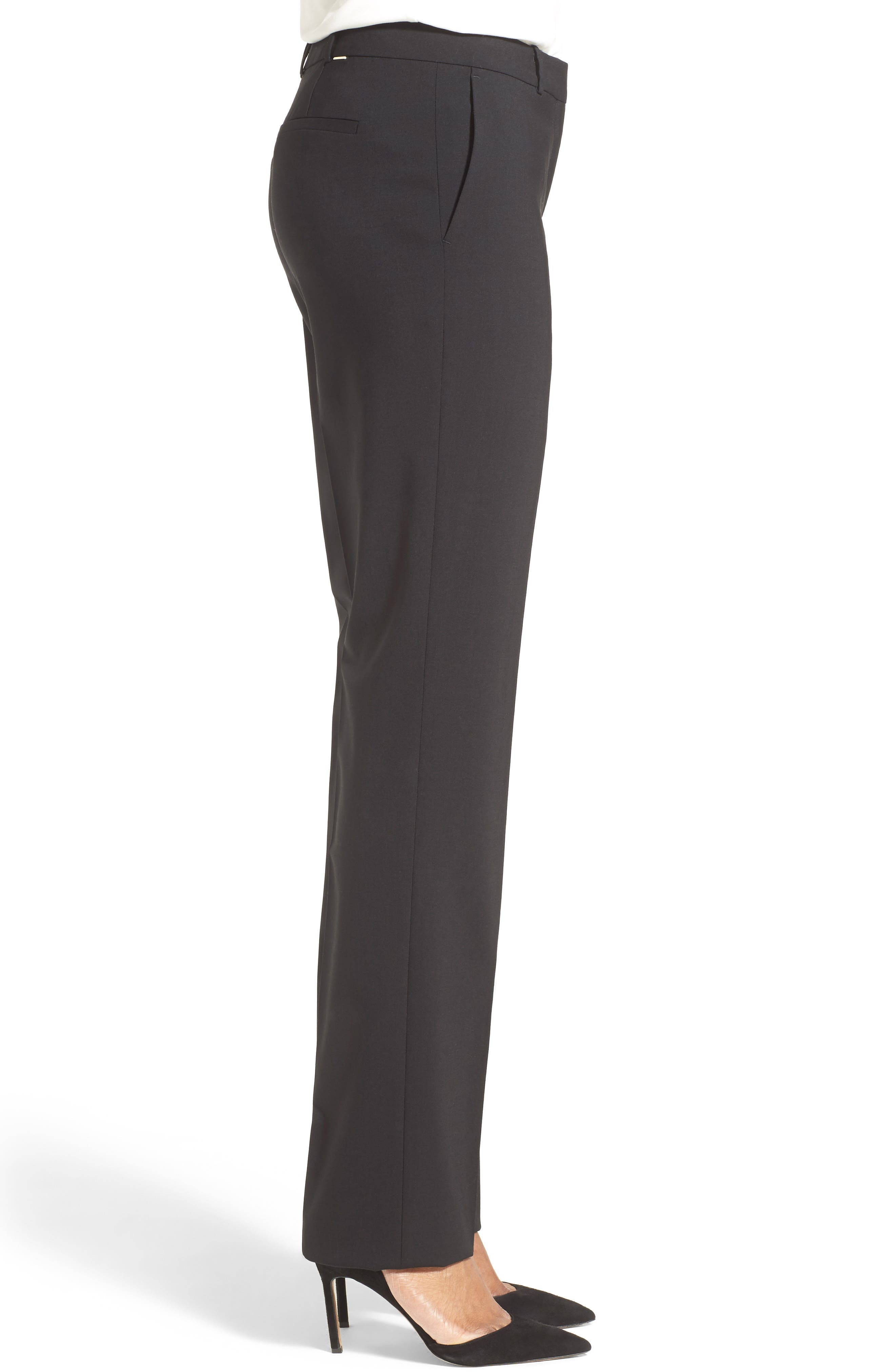 Tamea Tropical Stretch Wool Trousers,                             Alternate thumbnail 3, color,                             BLACK