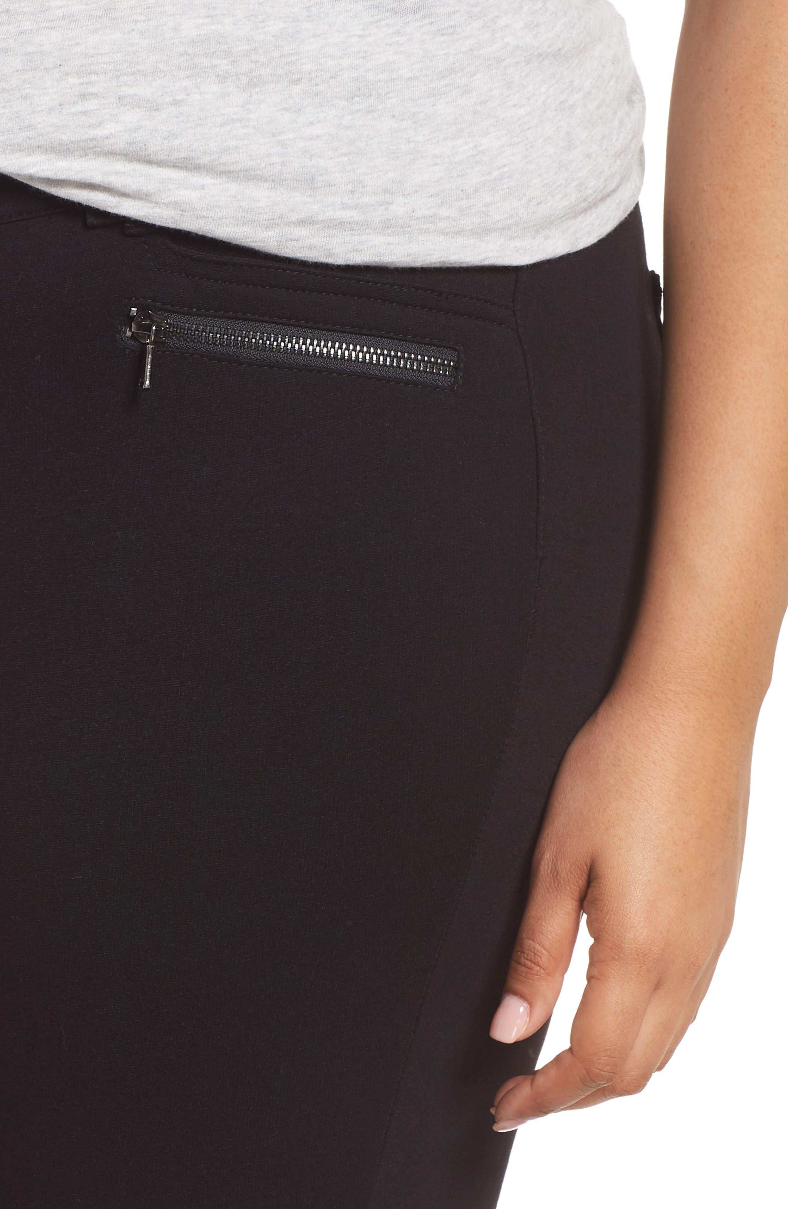 Ab-solution Zip Pocket Skinny Pants,                             Alternate thumbnail 4, color,                             BLACK