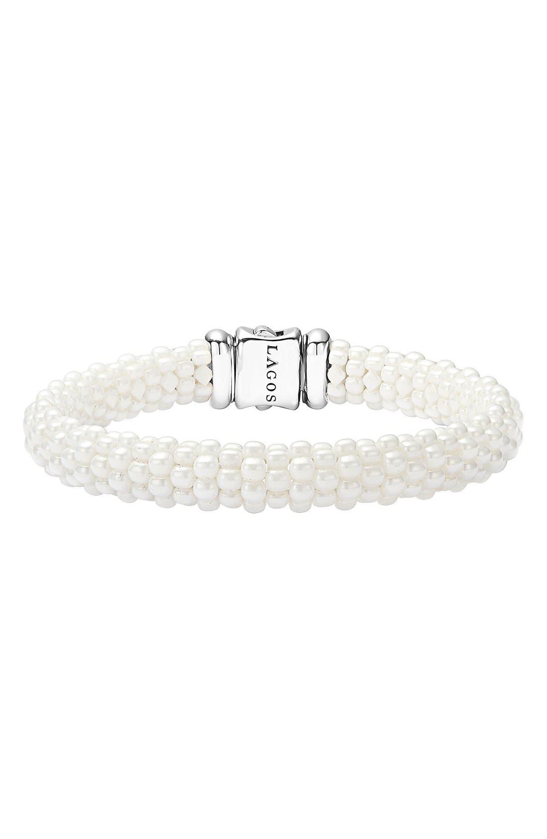'White Caviar' Rope Bracelet,                             Main thumbnail 1, color,                             WHITE CAVIAR