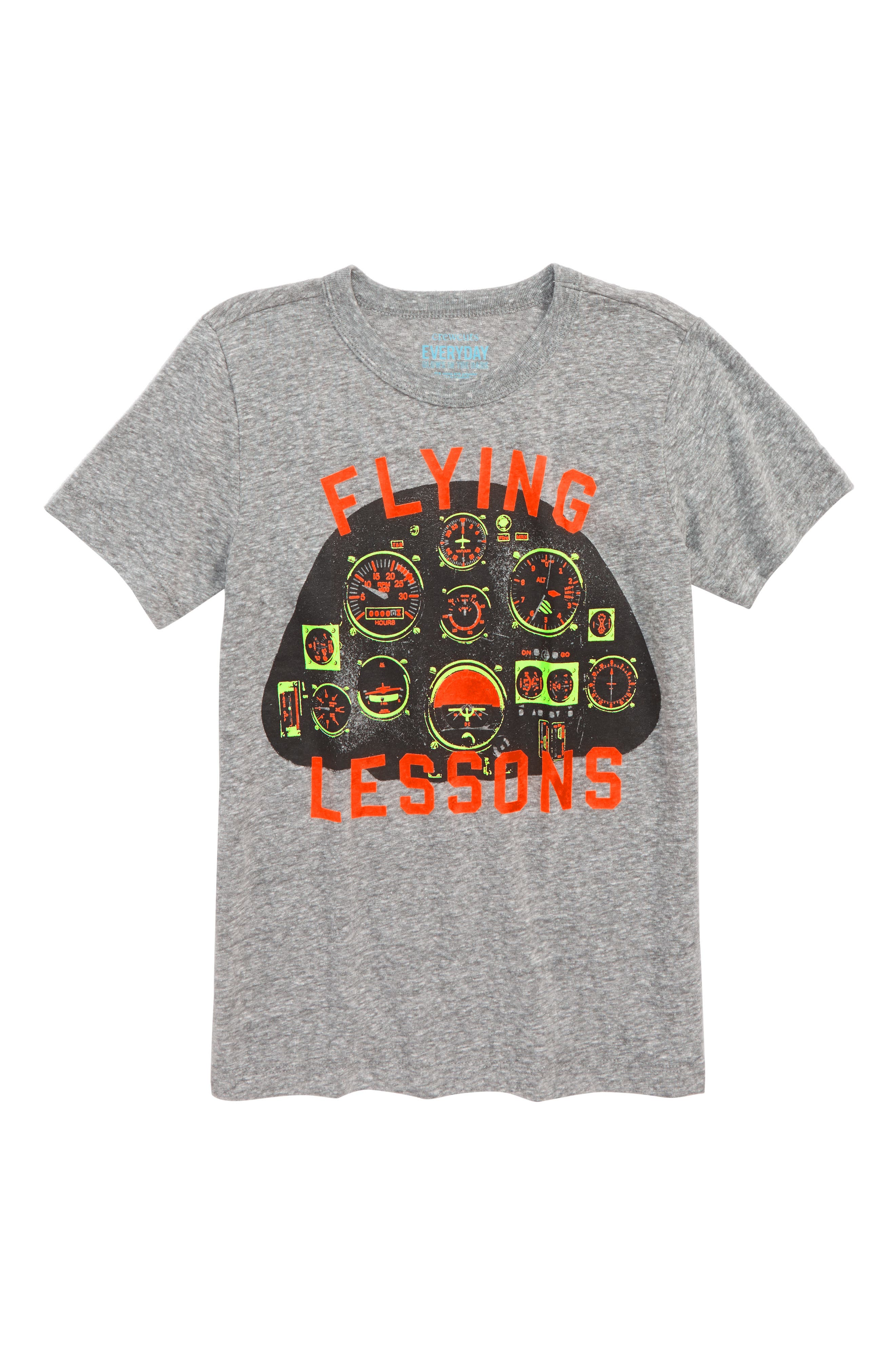Flying Lessons Graphic T-Shirt,                             Main thumbnail 1, color,                             FADED BLACK
