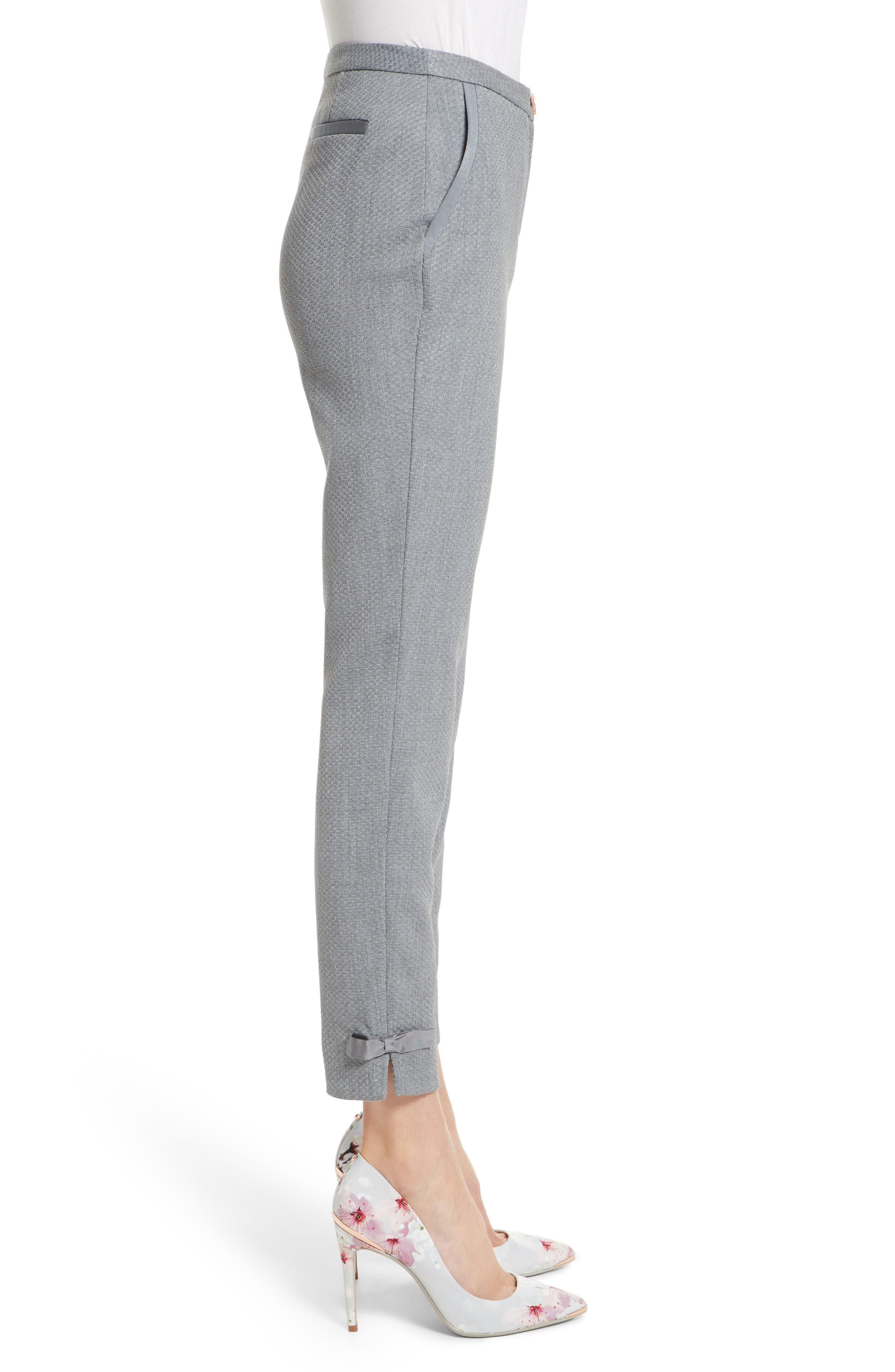 Nadaet Bow Detail Textured Ankle Trousers,                             Alternate thumbnail 3, color,                             021