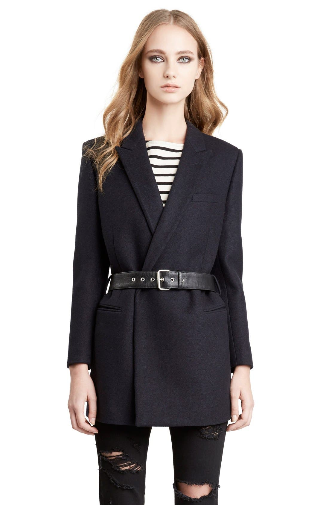 Wool Coat with Belt,                             Alternate thumbnail 4, color,                             411