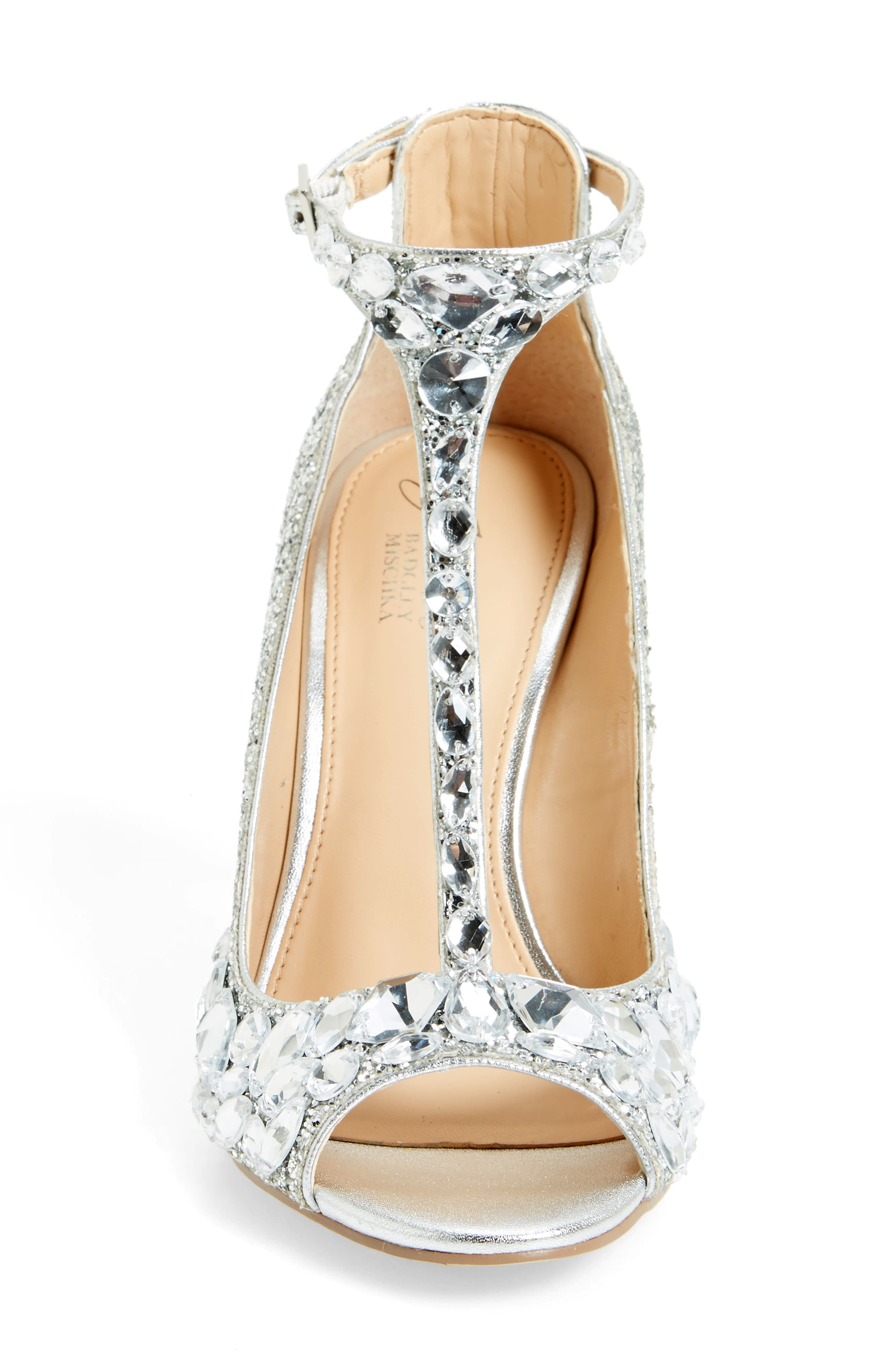 Conroy Embellished T-Strap Pump,                             Alternate thumbnail 3, color,                             SILVER