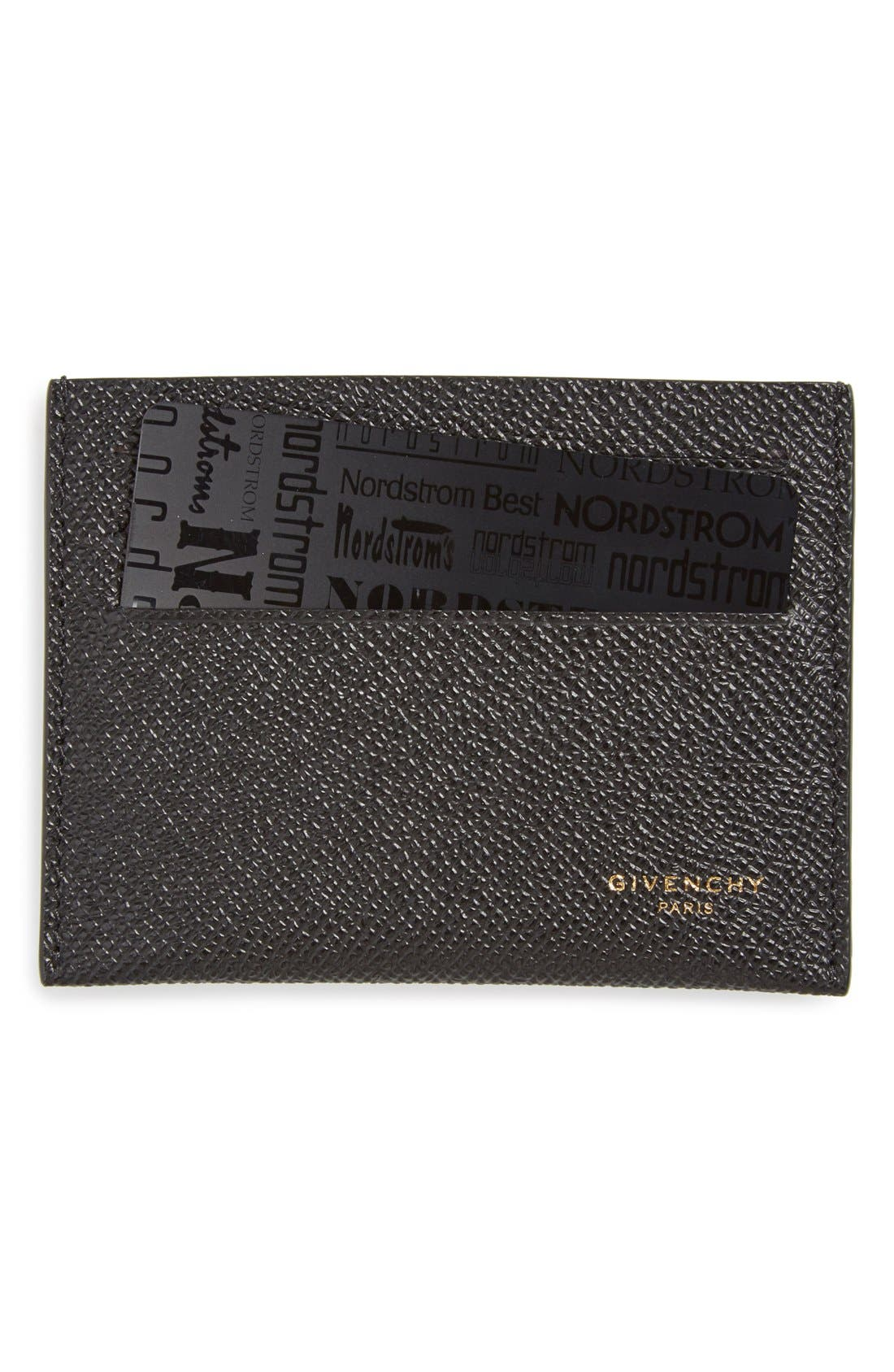 Textured Leather Card Case,                         Main,                         color, BLACK