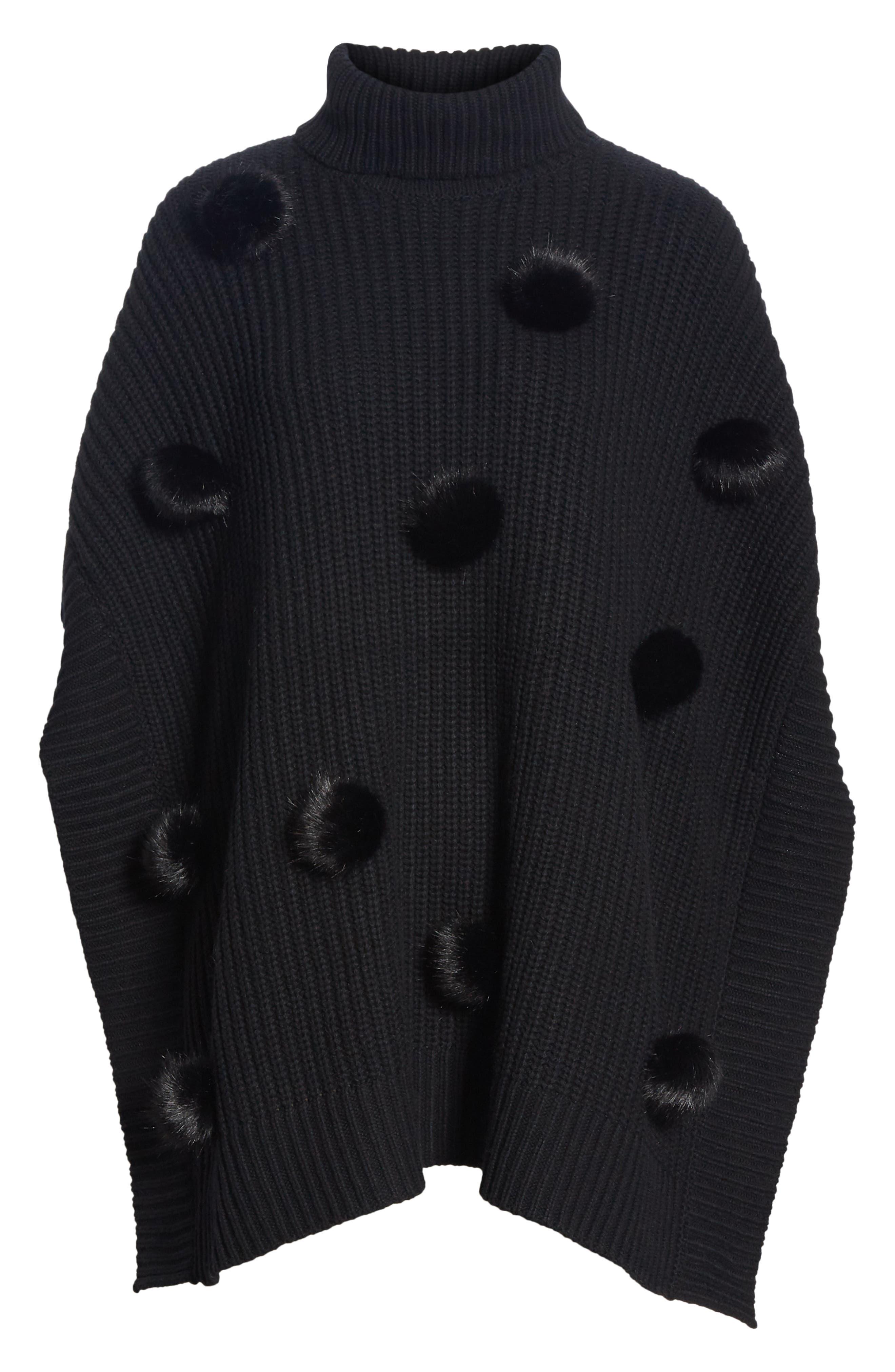 faux fur pom poncho,                             Alternate thumbnail 6, color,                             BLACK