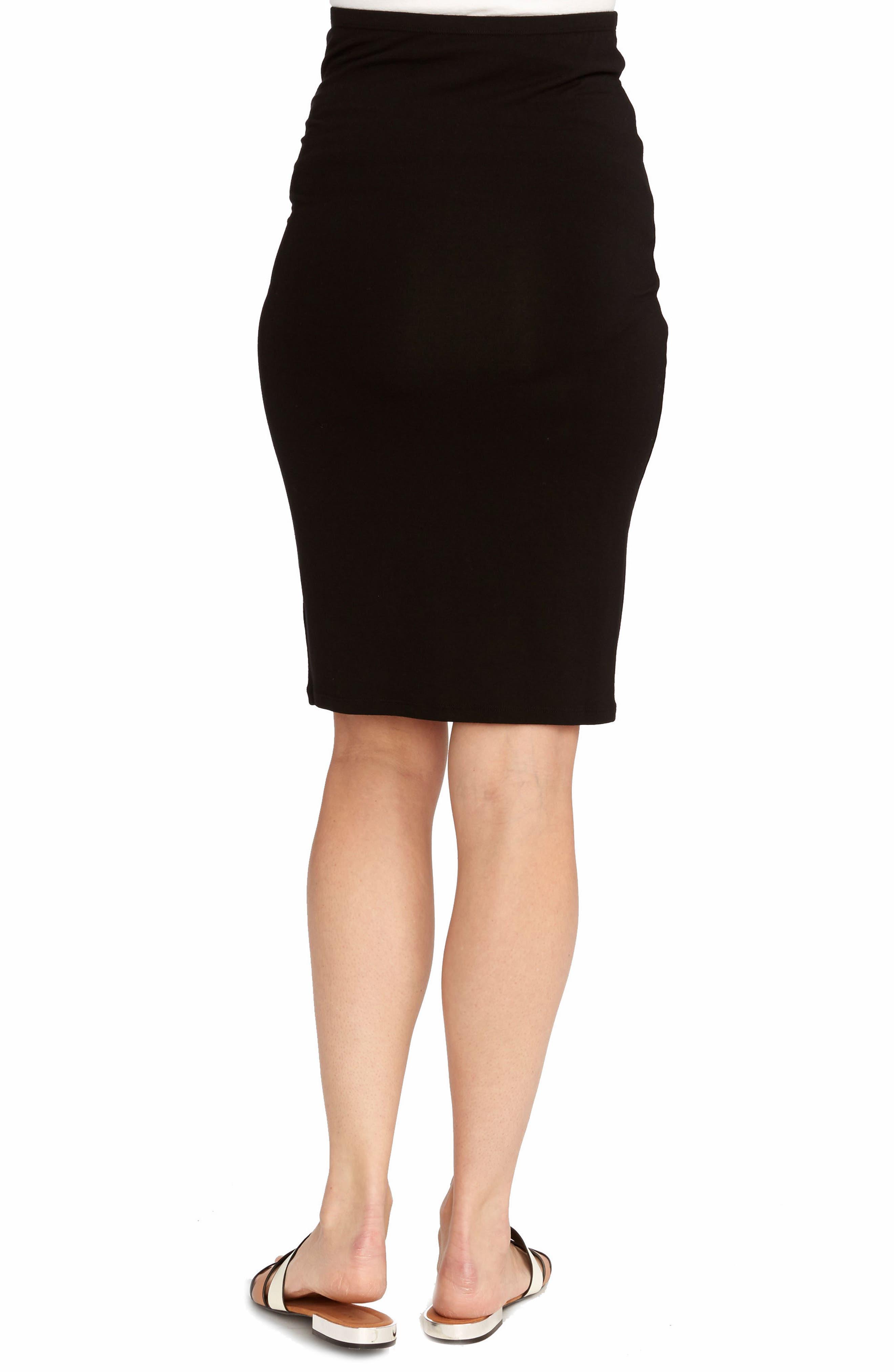 Adeline Maternity Skirt,                             Alternate thumbnail 2, color,                             BLACK