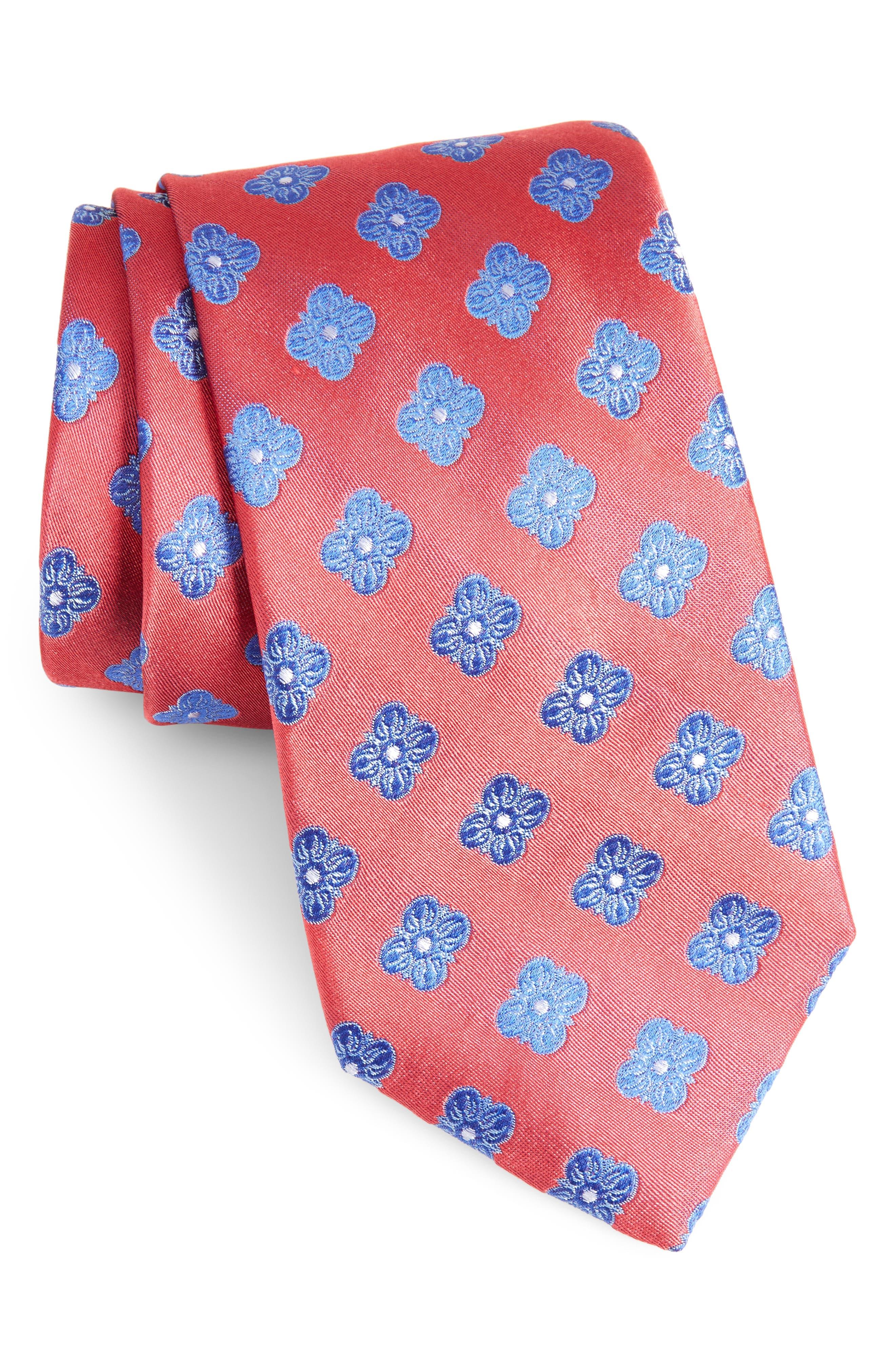 Cameron Floral Medallion Silk Tie,                             Main thumbnail 1, color,                             610
