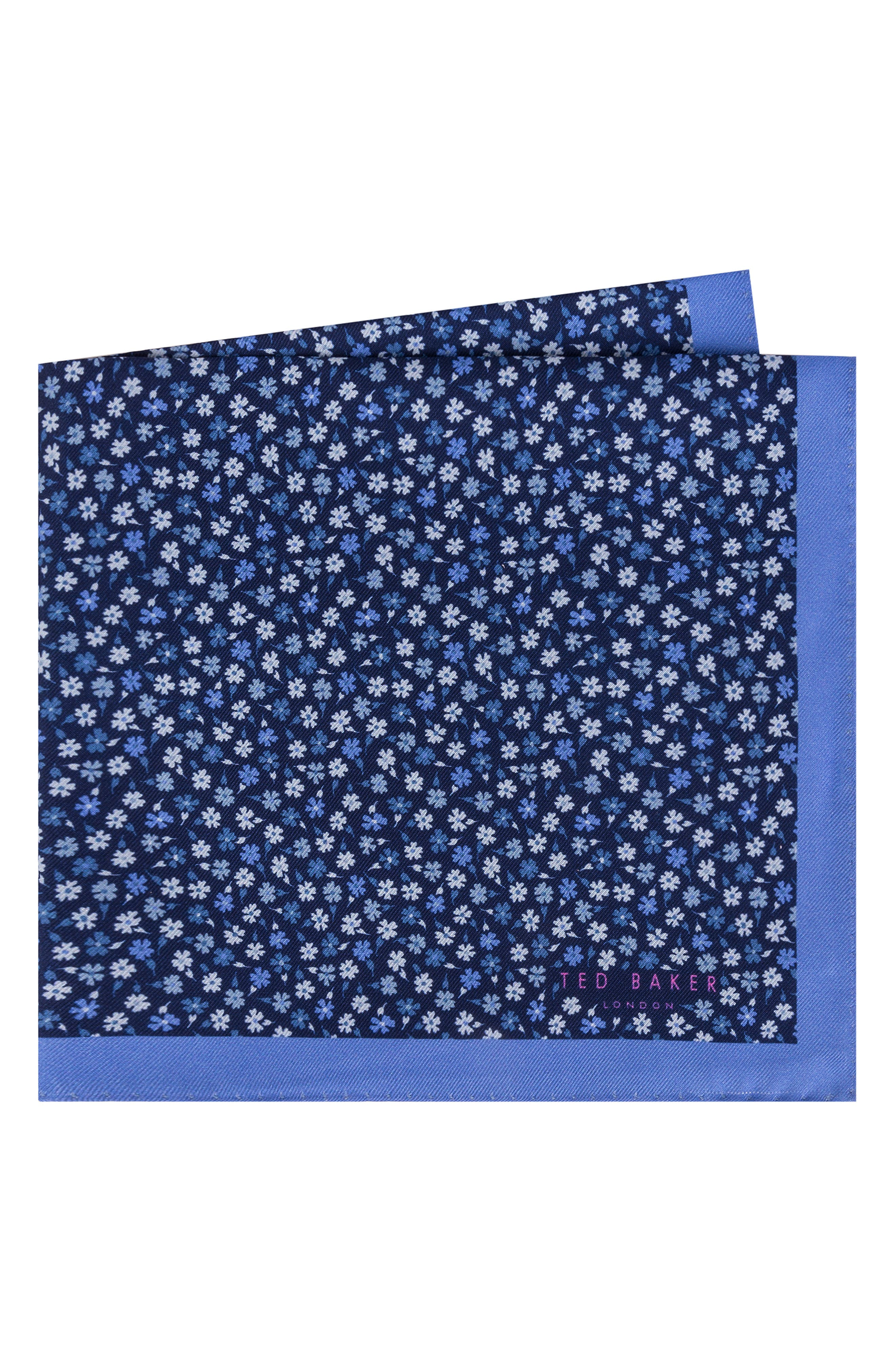 TED BAKER LONDON,                             Floral Silk Pocket Square,                             Main thumbnail 1, color,                             455