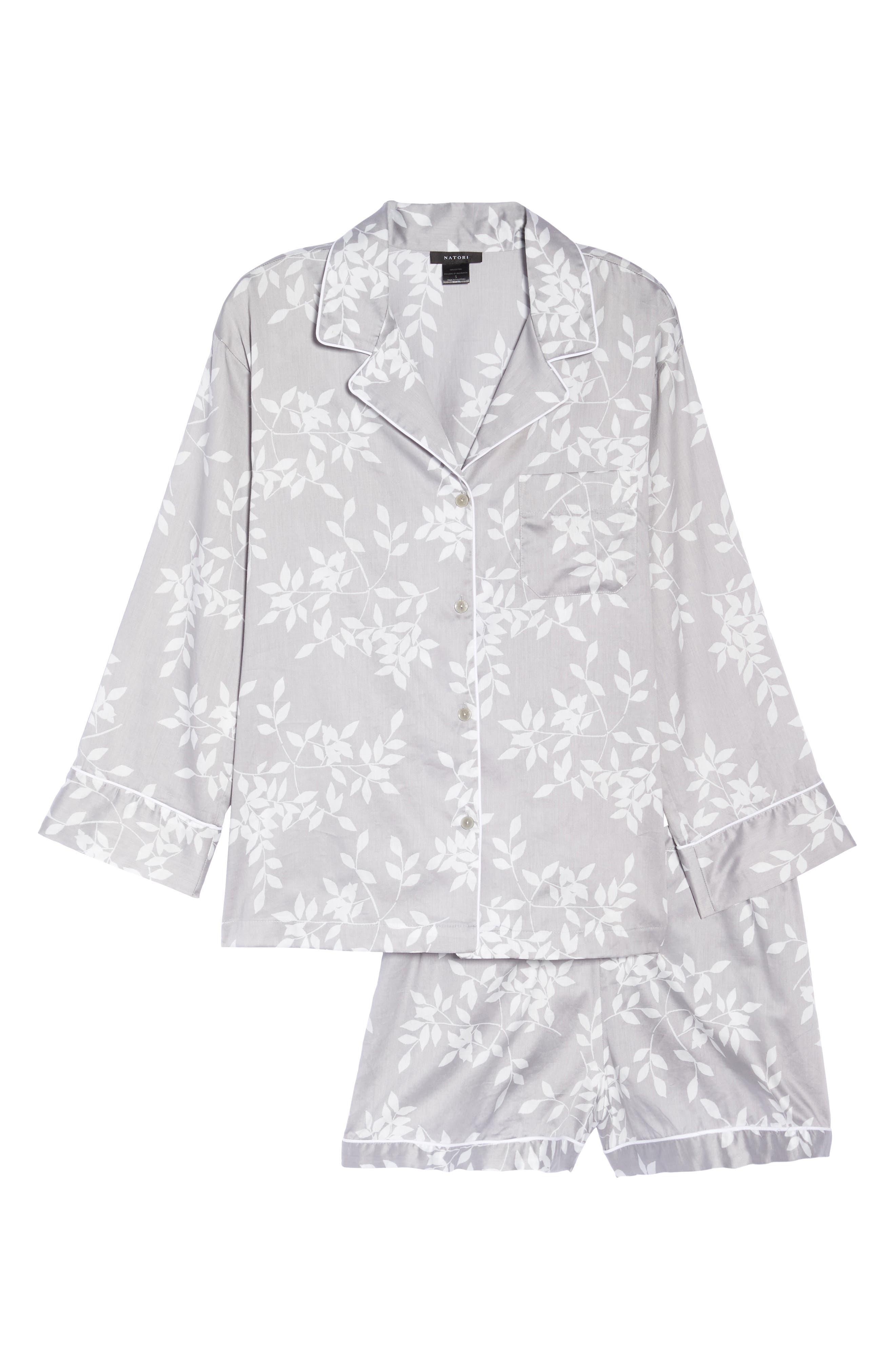 Branch Print Cotton Sateen Short Pajamas,                             Alternate thumbnail 6, color,                             021