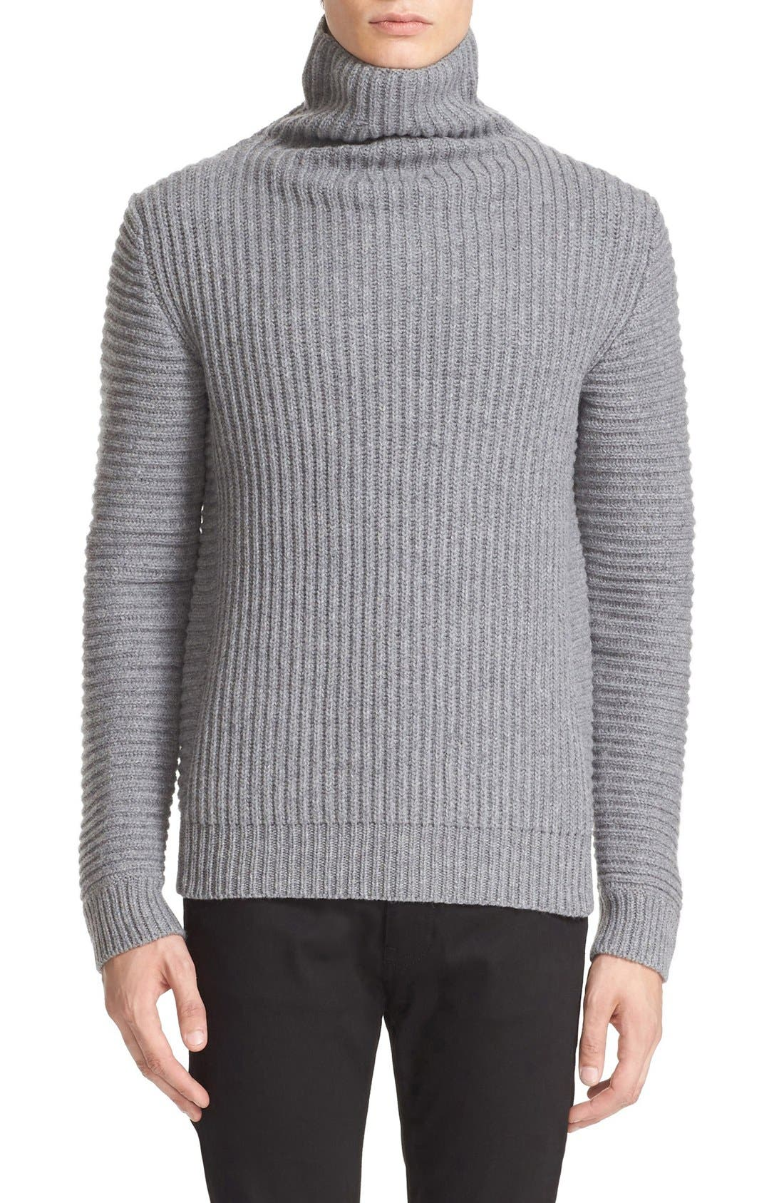 ACNE STUDIOS,                             Kalle Ribbed Turtleneck Sweater,                             Main thumbnail 1, color,                             020