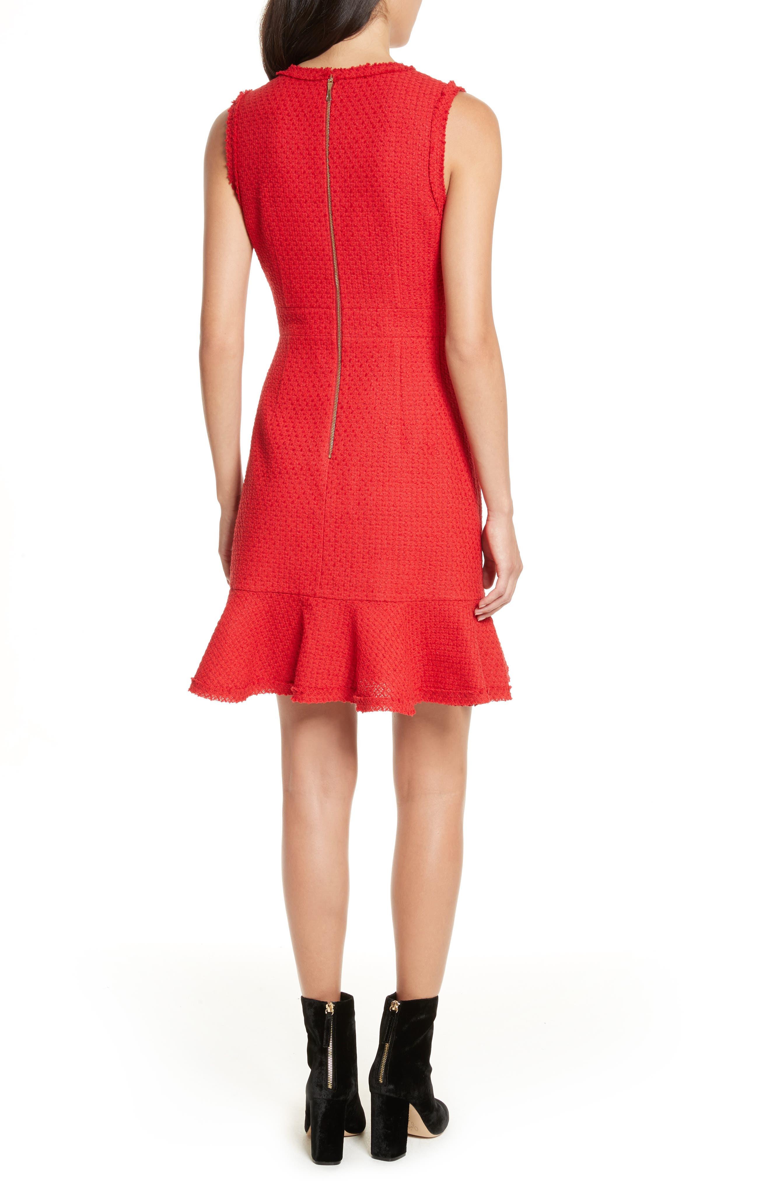 ruffle hem tweed dress,                             Alternate thumbnail 2, color,