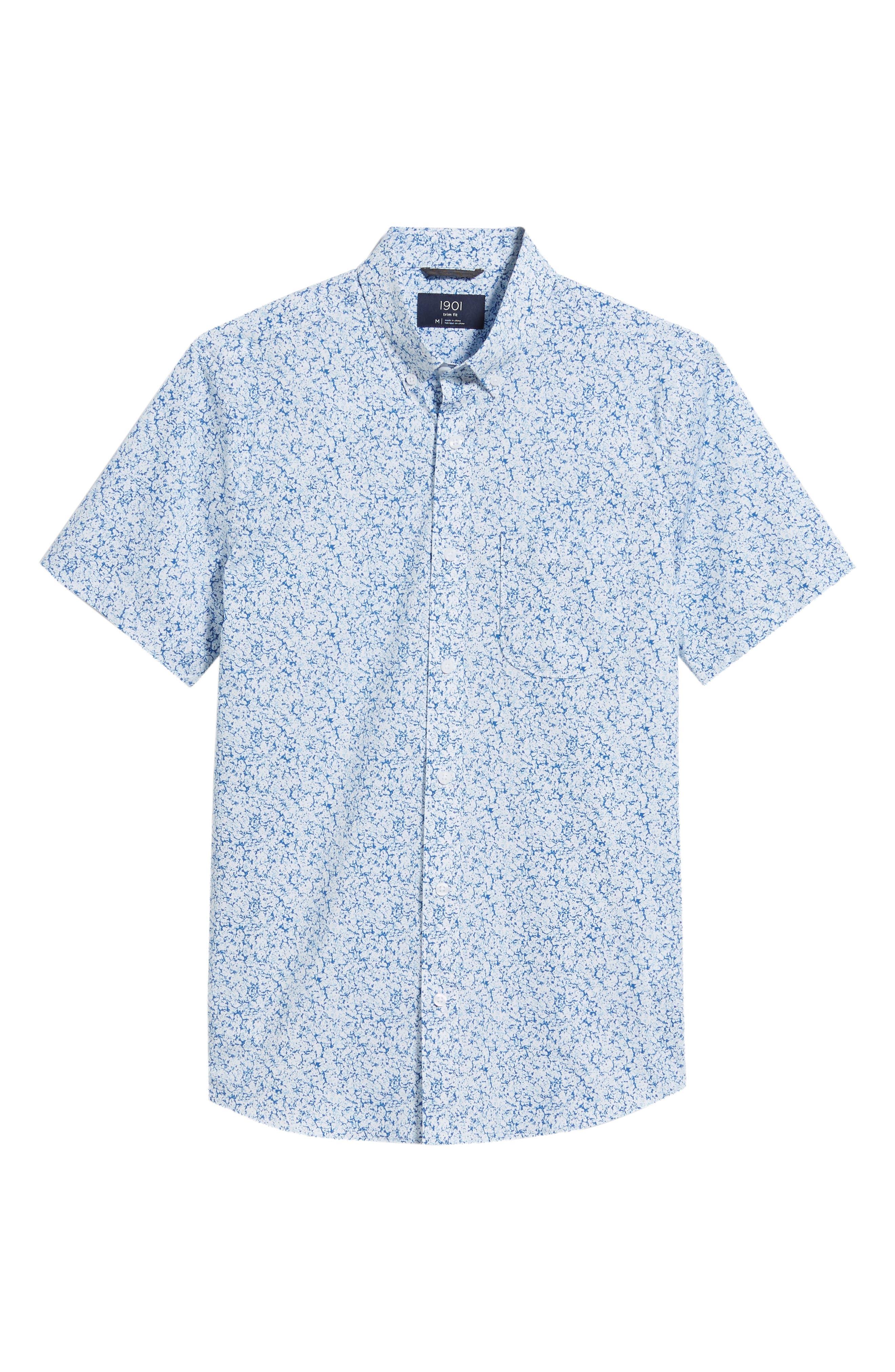 Trim Fit Marble Print Sport Shirt,                             Alternate thumbnail 6, color,                             100